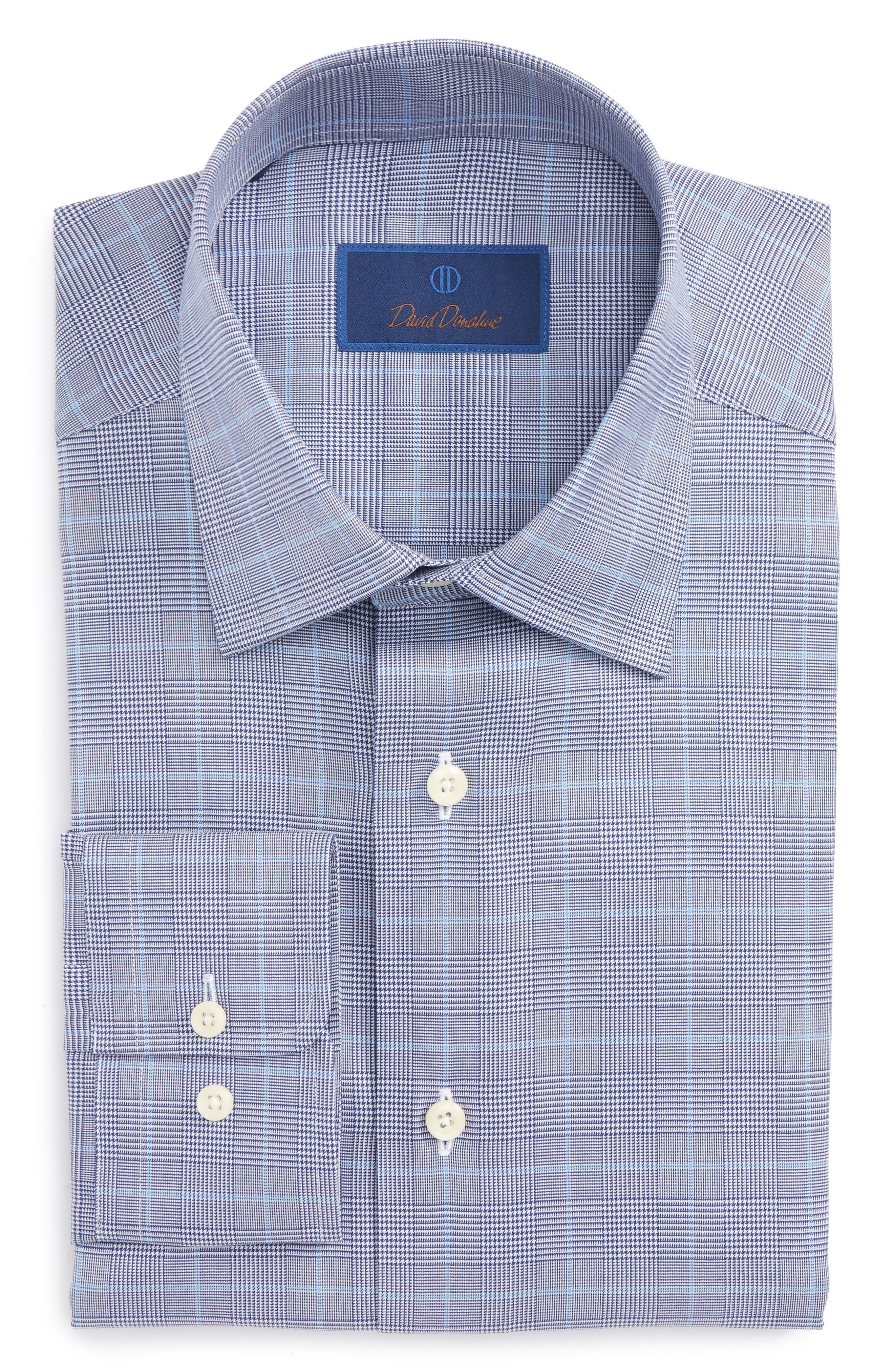Regular Fit Plaid Dress Shirt,                             Main thumbnail 1, color,                             Navy