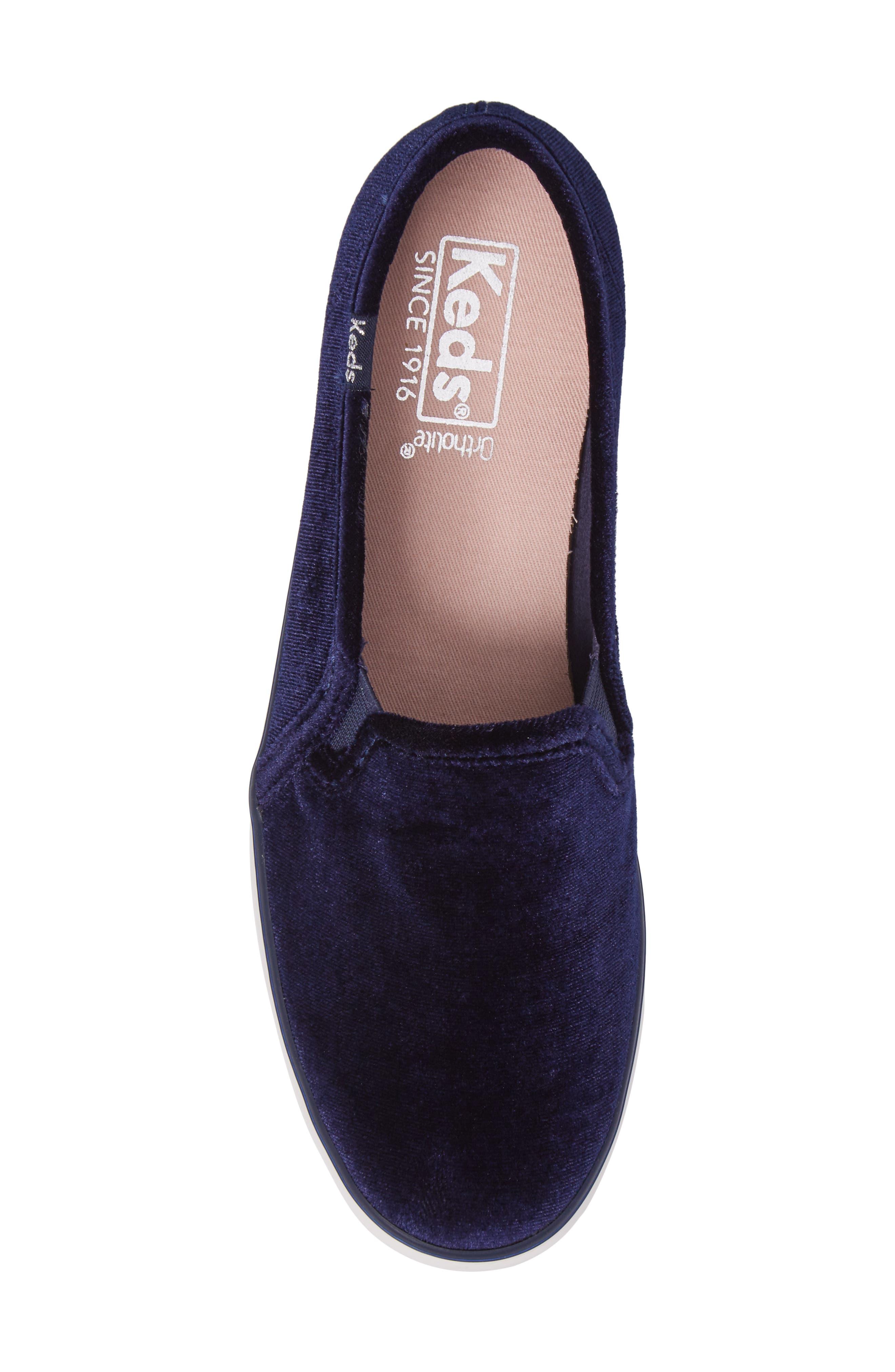 Triple Decker Slip-On Platform Sneaker,                             Alternate thumbnail 5, color,                             Navy Velvet