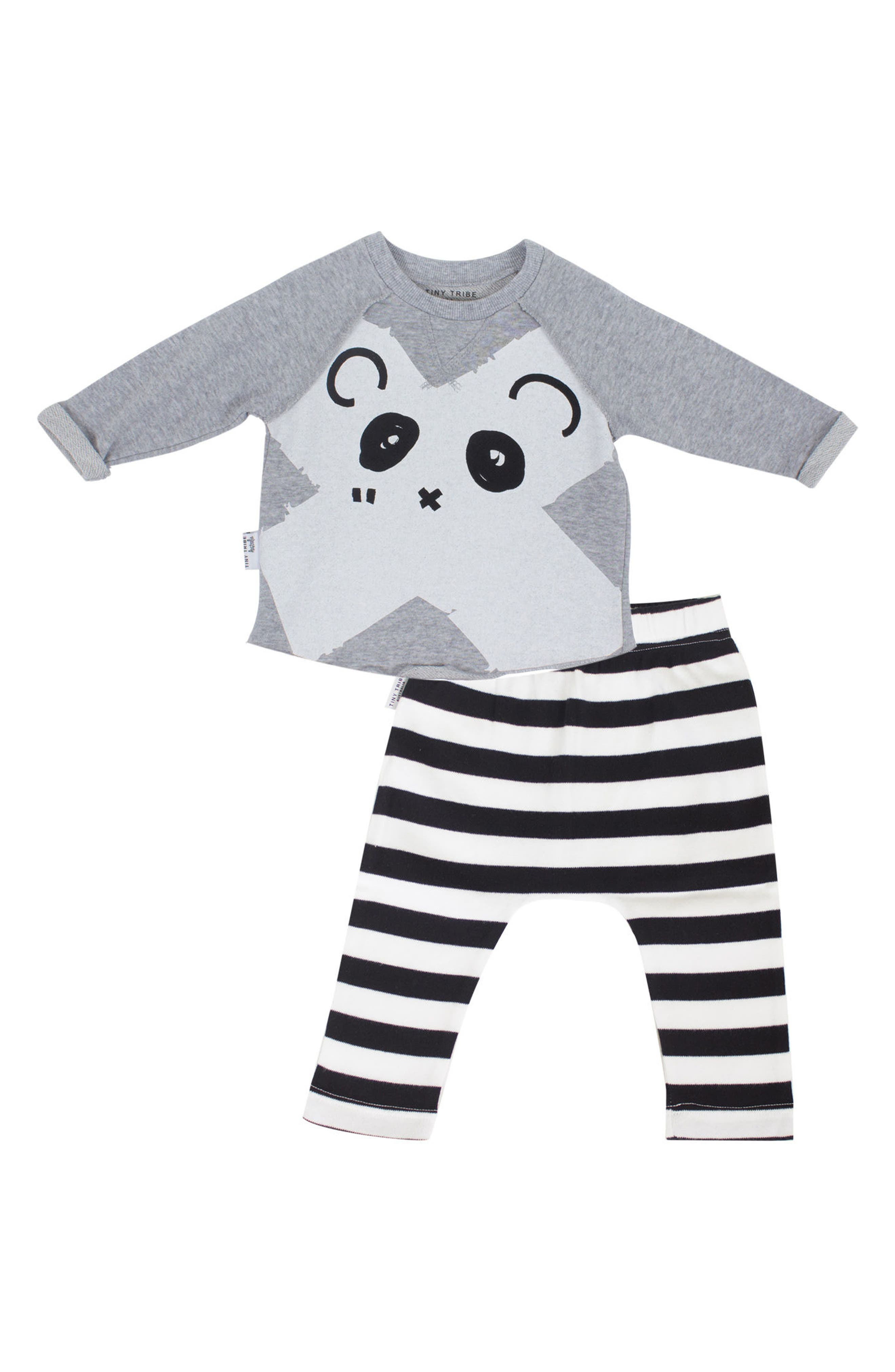 Panda Sweatshirt & Leggings Set,                             Main thumbnail 1, color,                             Grey And Black