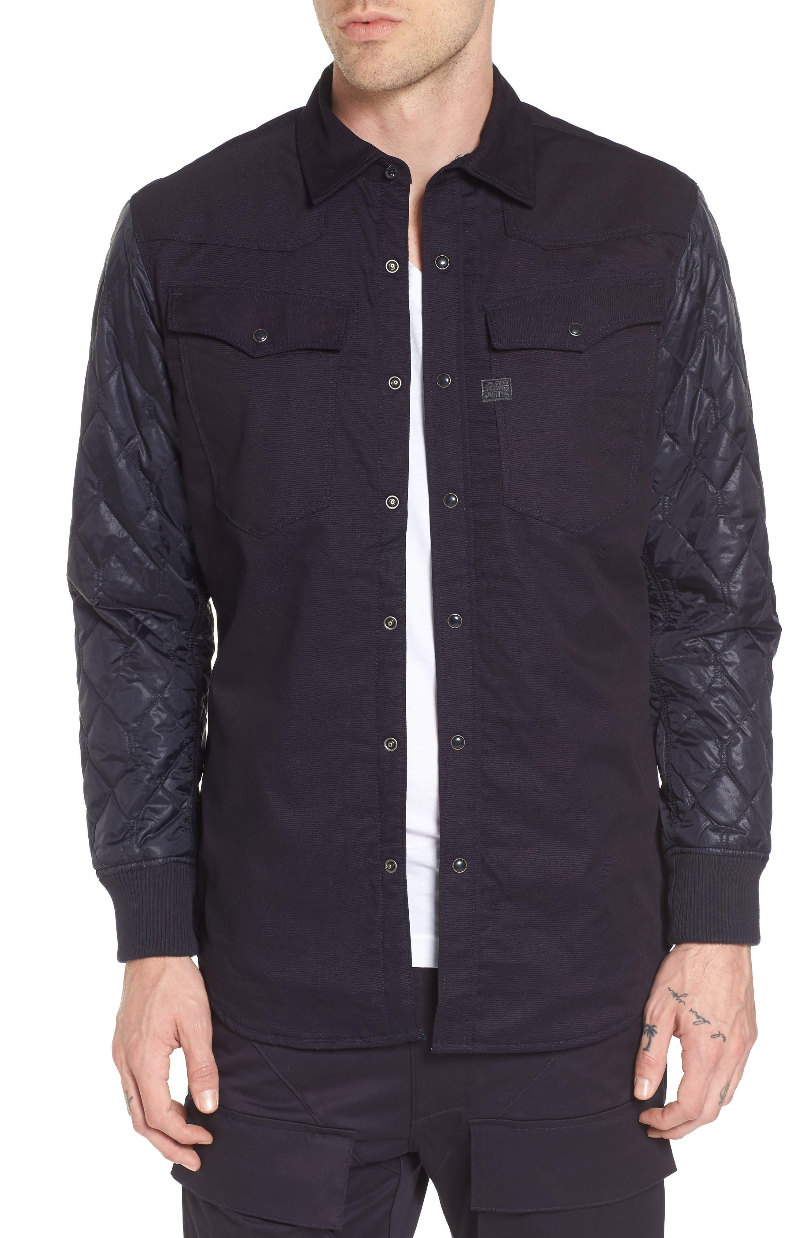 3301 HC Quilted Shirt Jacket,                         Main,                         color, Indigo Raw