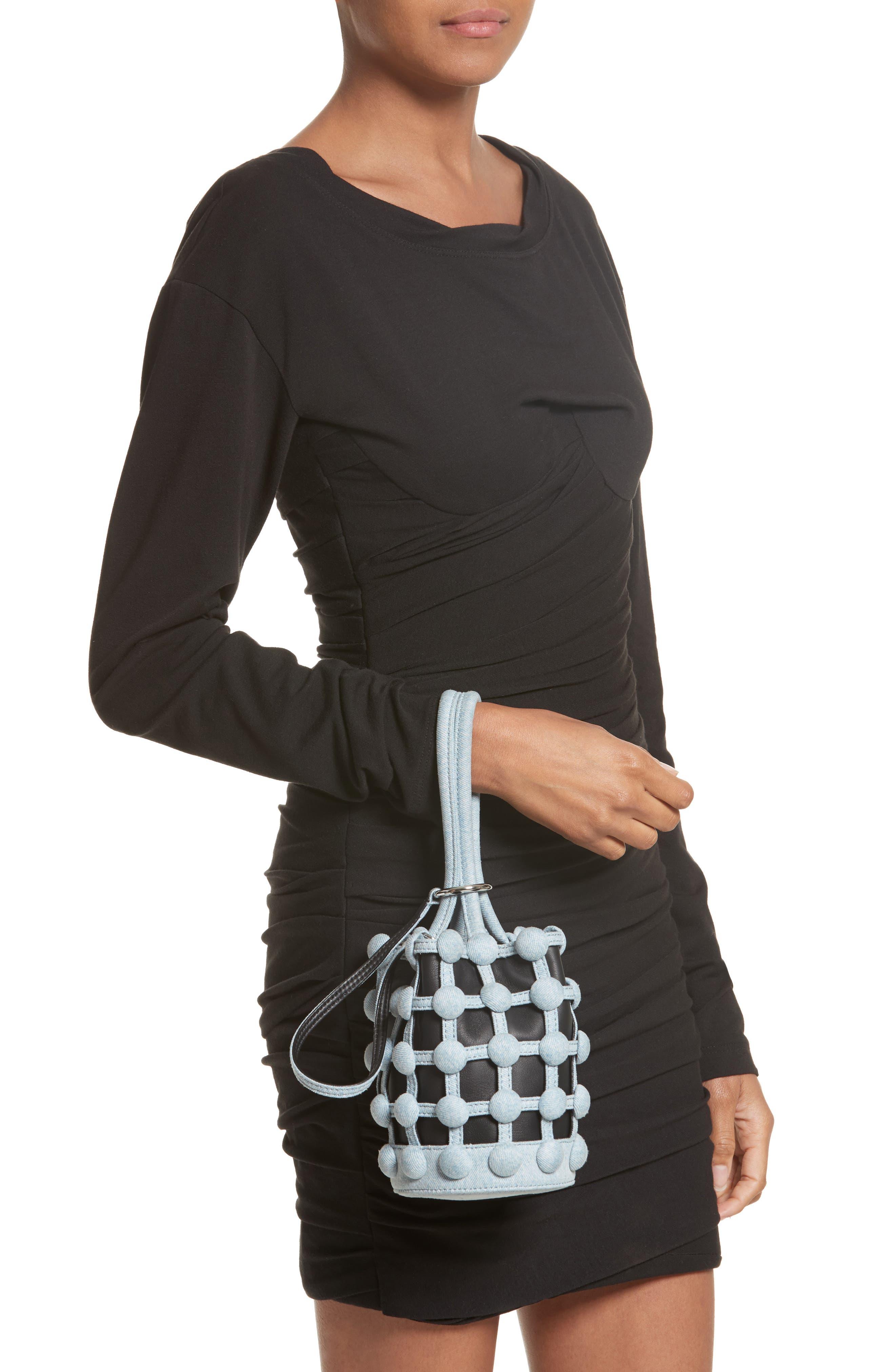 Alternate Image 2  - Alexander Wang Mini Roxy Denim Cage Leather Bucket Bag