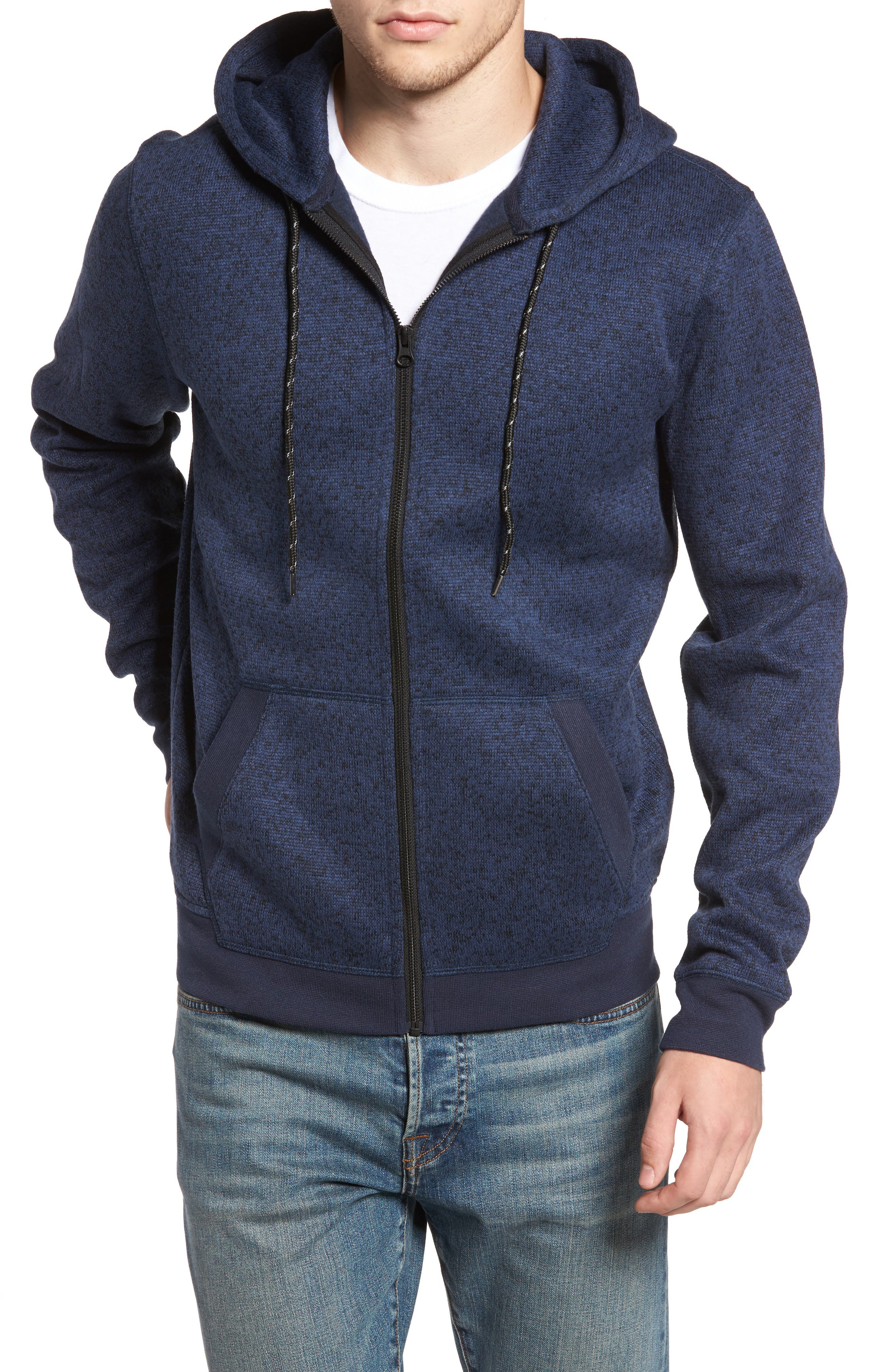 The Rail Zip Front Sweater Hoodie,                         Main,                         color, Blue Estate/ Black Marl