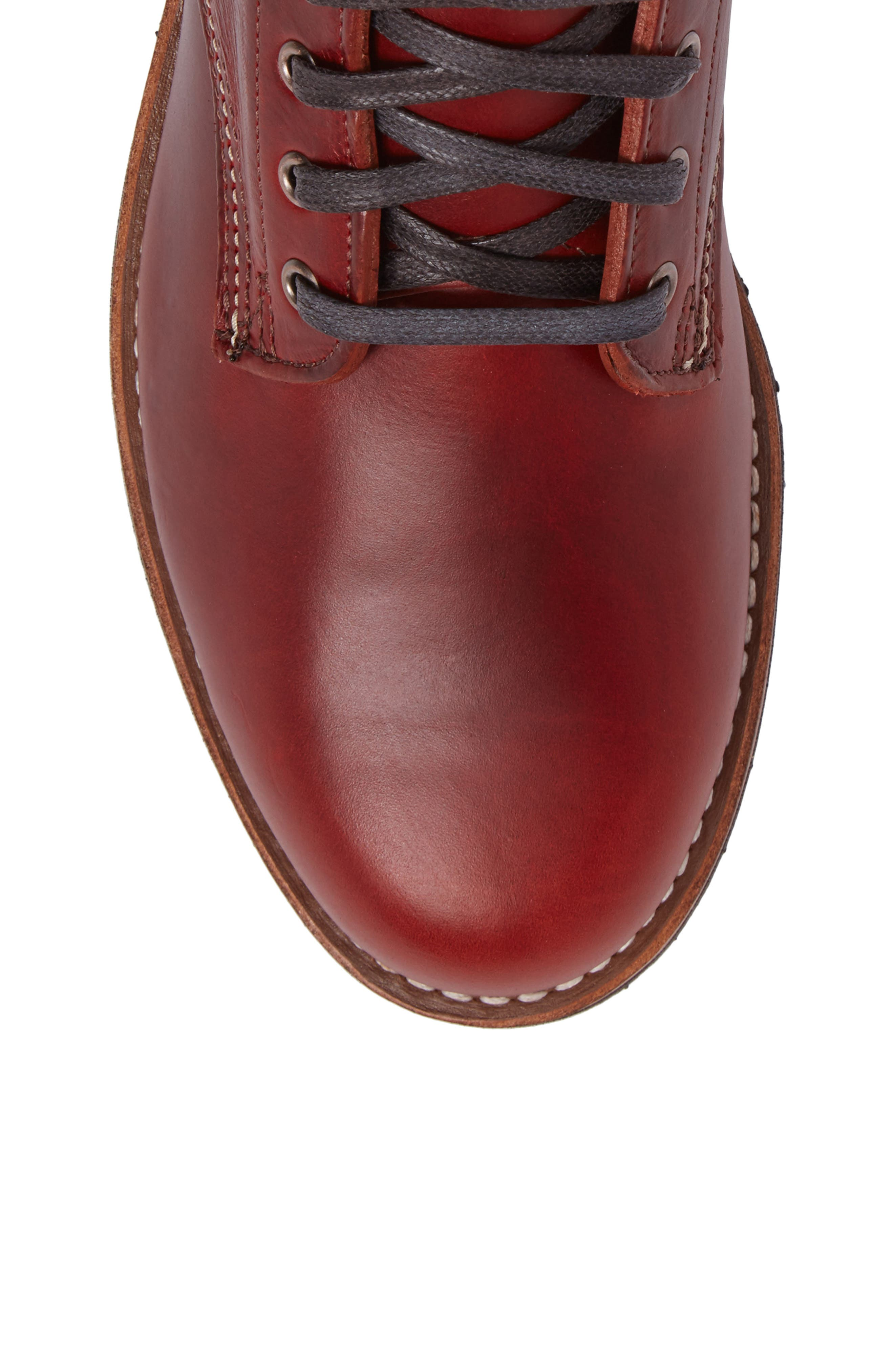 Evans Plain Toe Boot,                             Alternate thumbnail 5, color,                             Red Leather