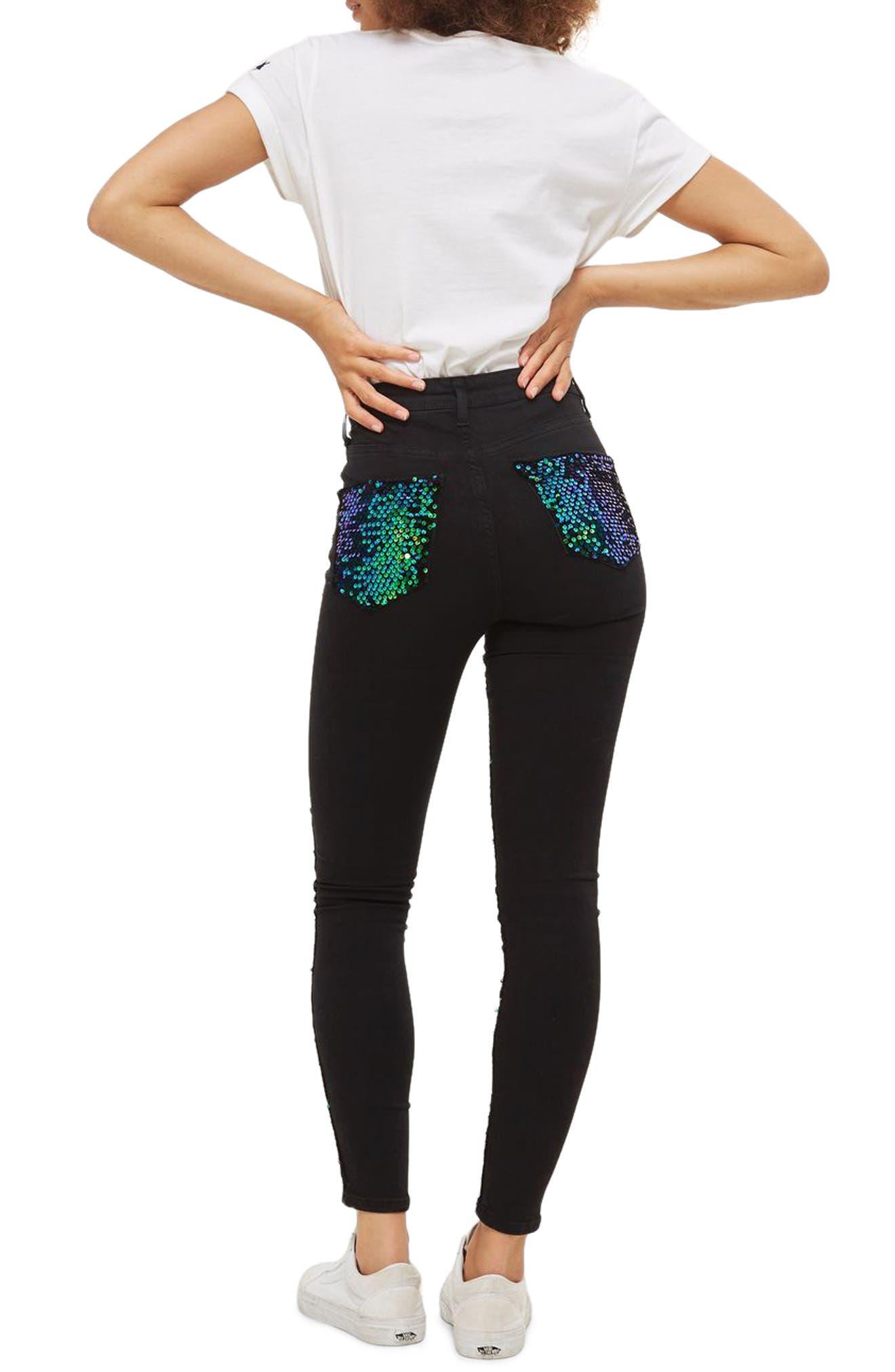 Jamie Turtle Sequin High Waist Skinny Jeans,                             Alternate thumbnail 2, color,                             Black Multi