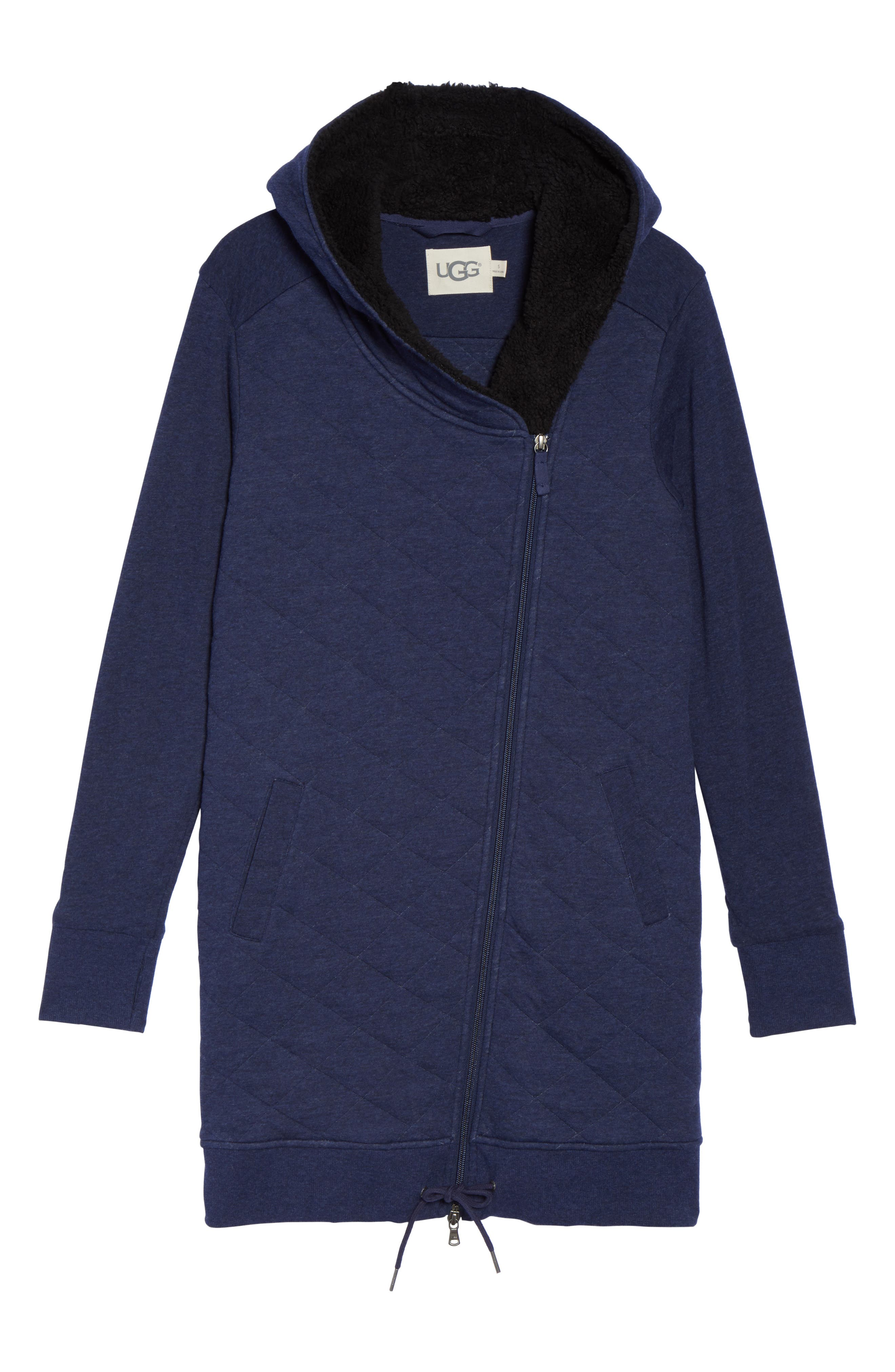 'Kayla' Quilted Hoodie,                             Alternate thumbnail 4, color,                             Navy Heather