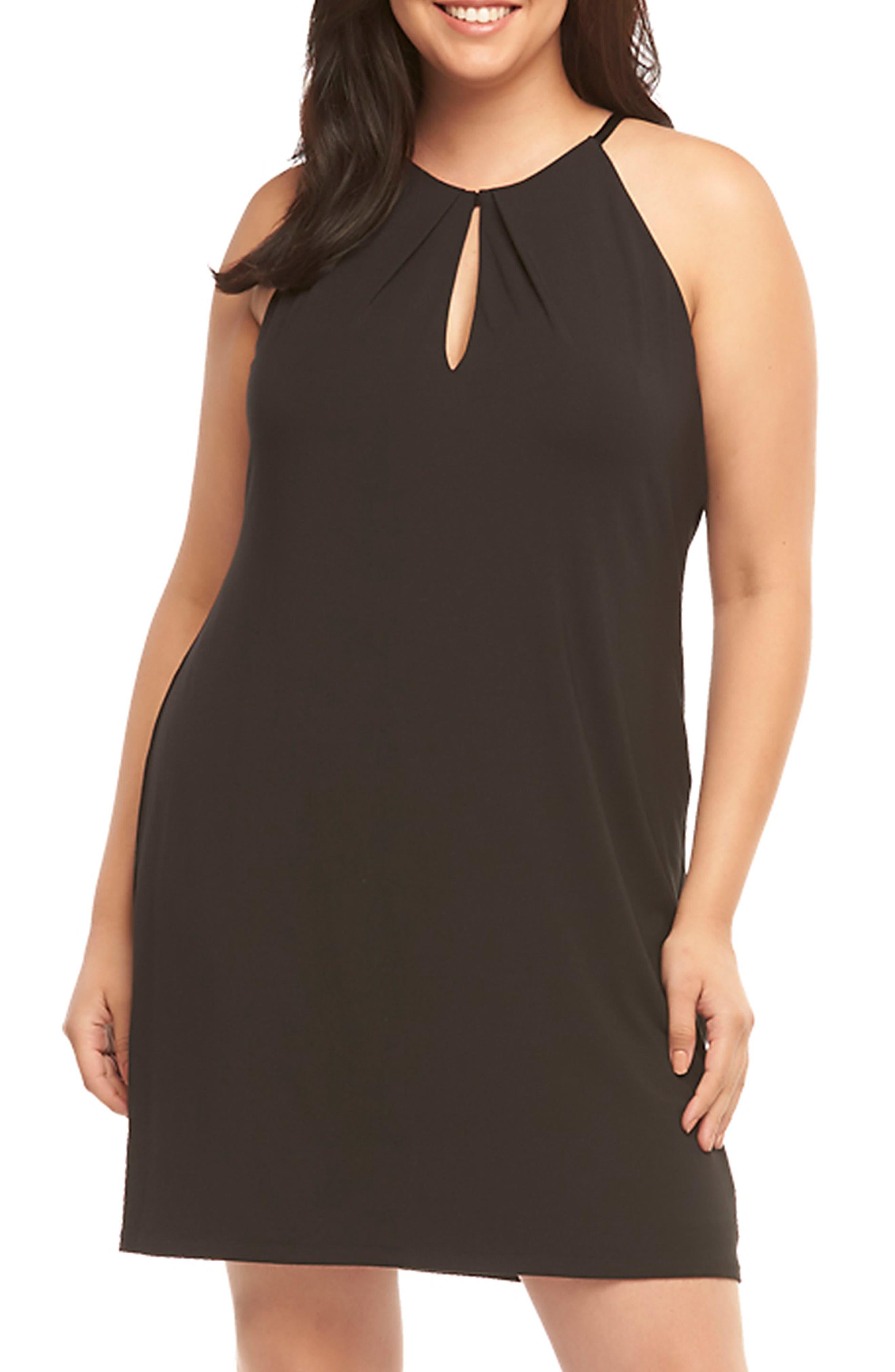 Mirabelle Keyhole Neck Shift Dress,                         Main,                         color, Black