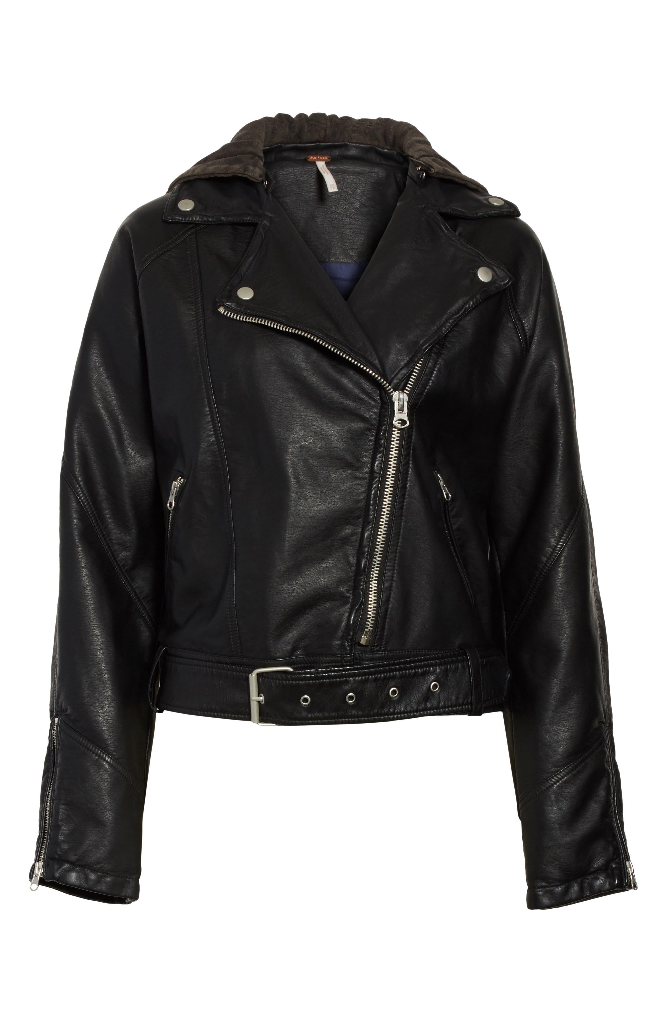 Drapey Faux Leather Moto Jacket,                             Alternate thumbnail 6, color,                             Black