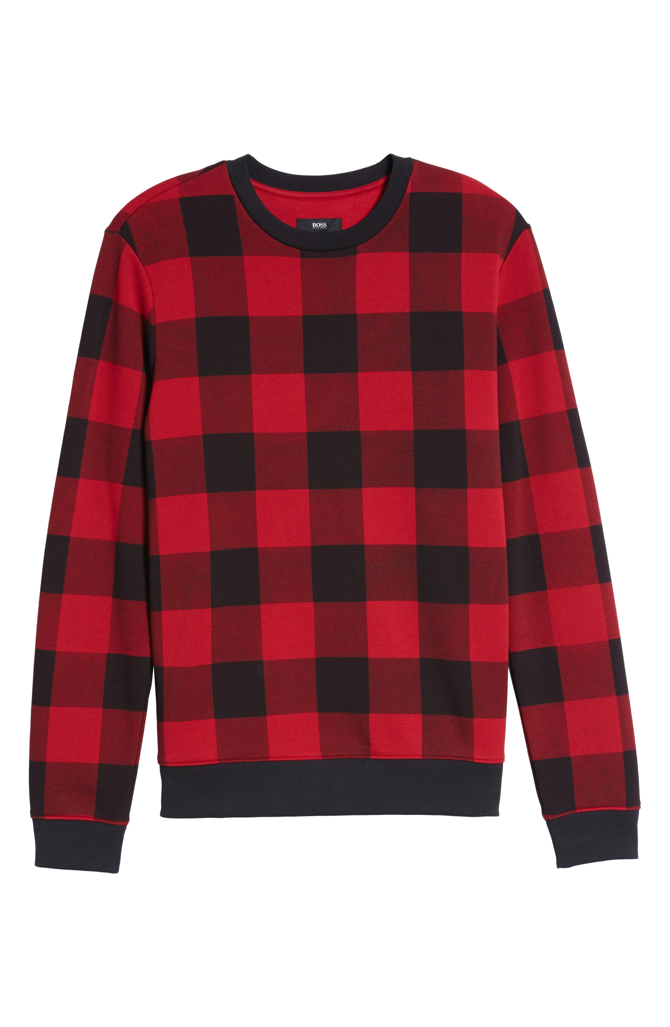 Skubic Check Slim Fit Sweater,                             Alternate thumbnail 6, color,                             Red