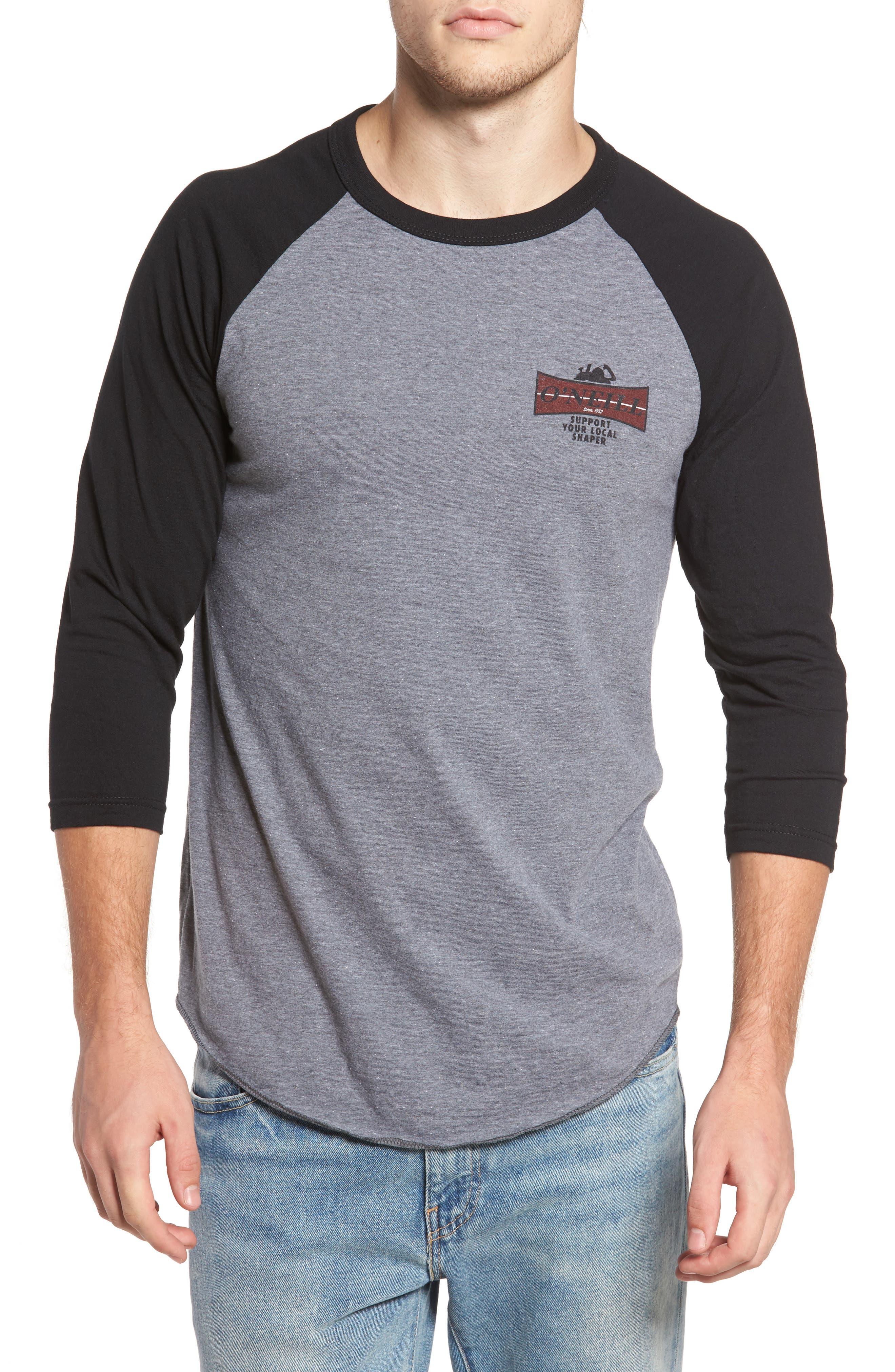 Planer Raglan T-Shirt,                             Main thumbnail 1, color,                             Grey W/ Black