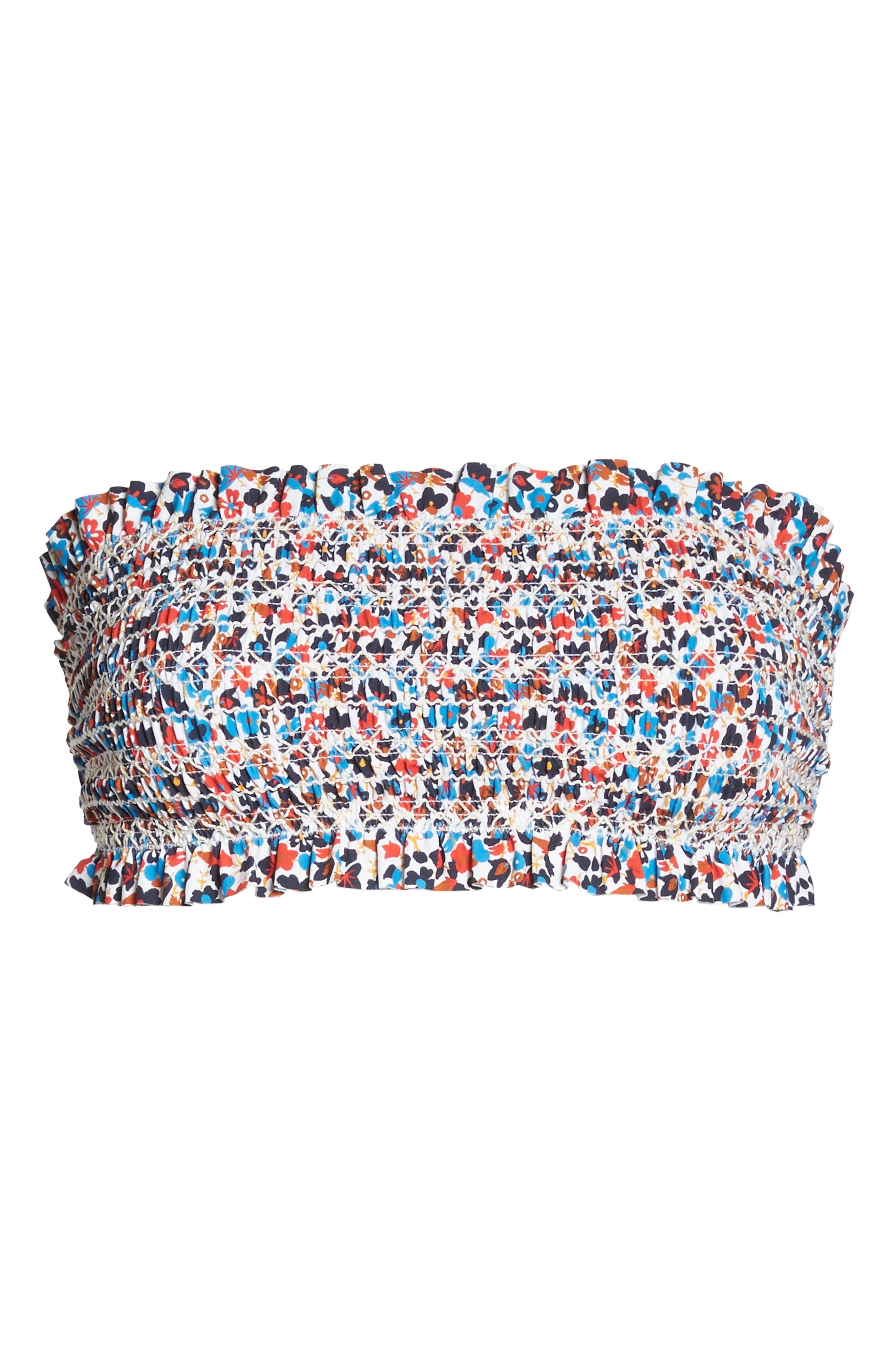 Costa Smocked Bandeau Bikini Top,                             Alternate thumbnail 6, color,                             Mini Wildflower