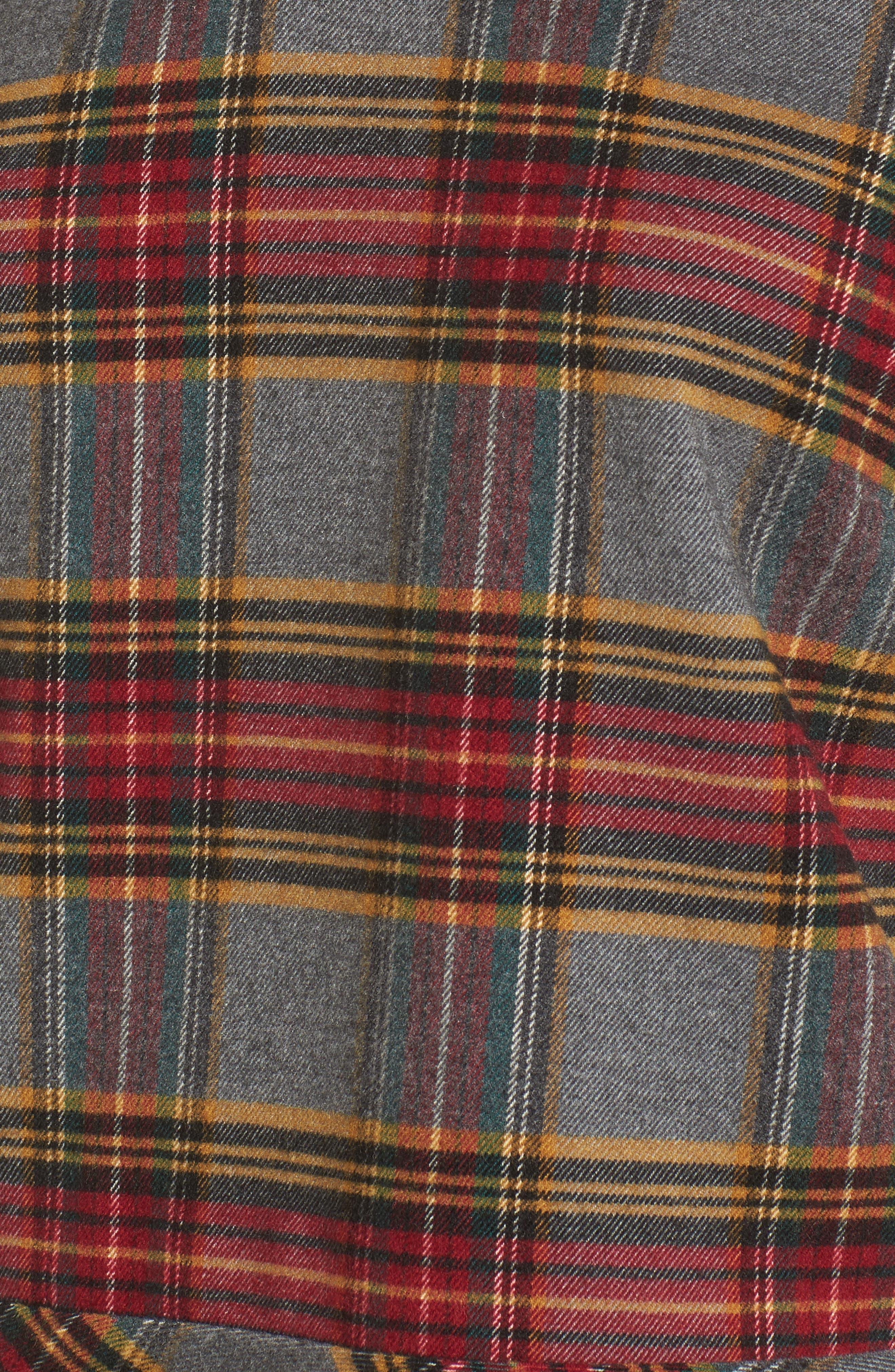Plaid Ruffle Hem Shirt,                             Alternate thumbnail 5, color,                             Grey Medium Heather Tartan