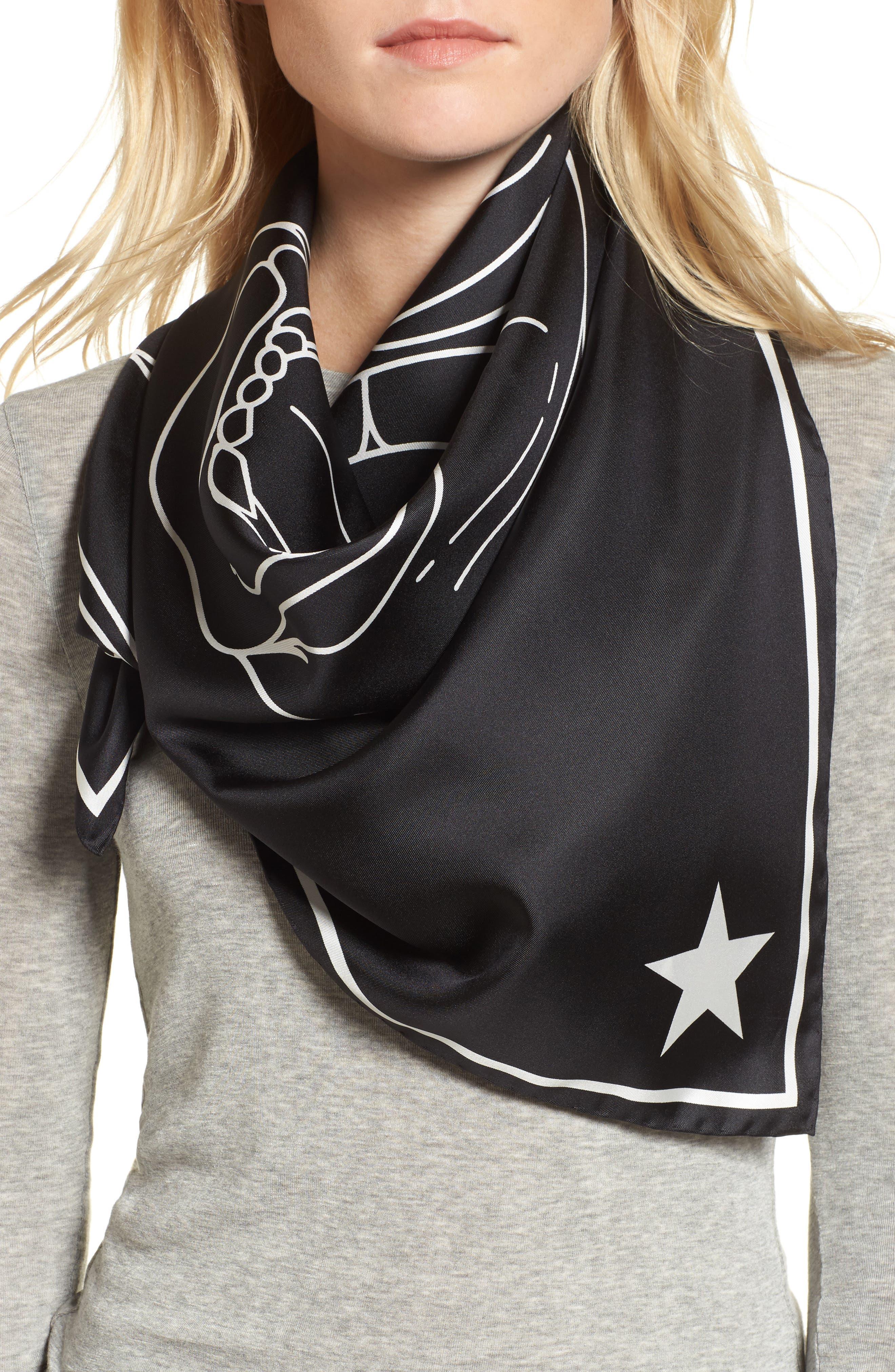 Rottweiler Silk Twill Scarf,                             Alternate thumbnail 2, color,                             Black/White
