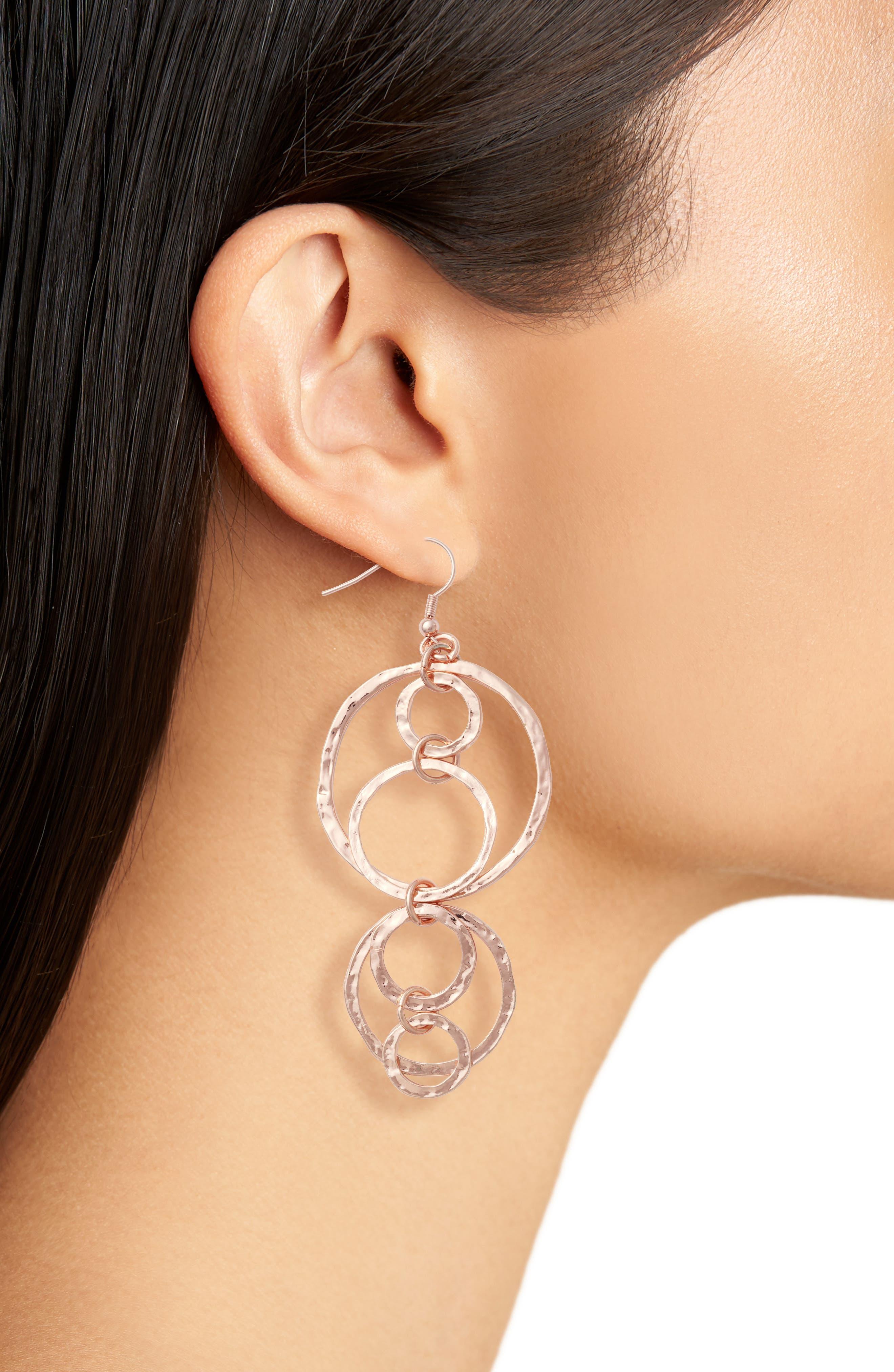 Drop Earrings,                             Alternate thumbnail 2, color,                             Rose Gold