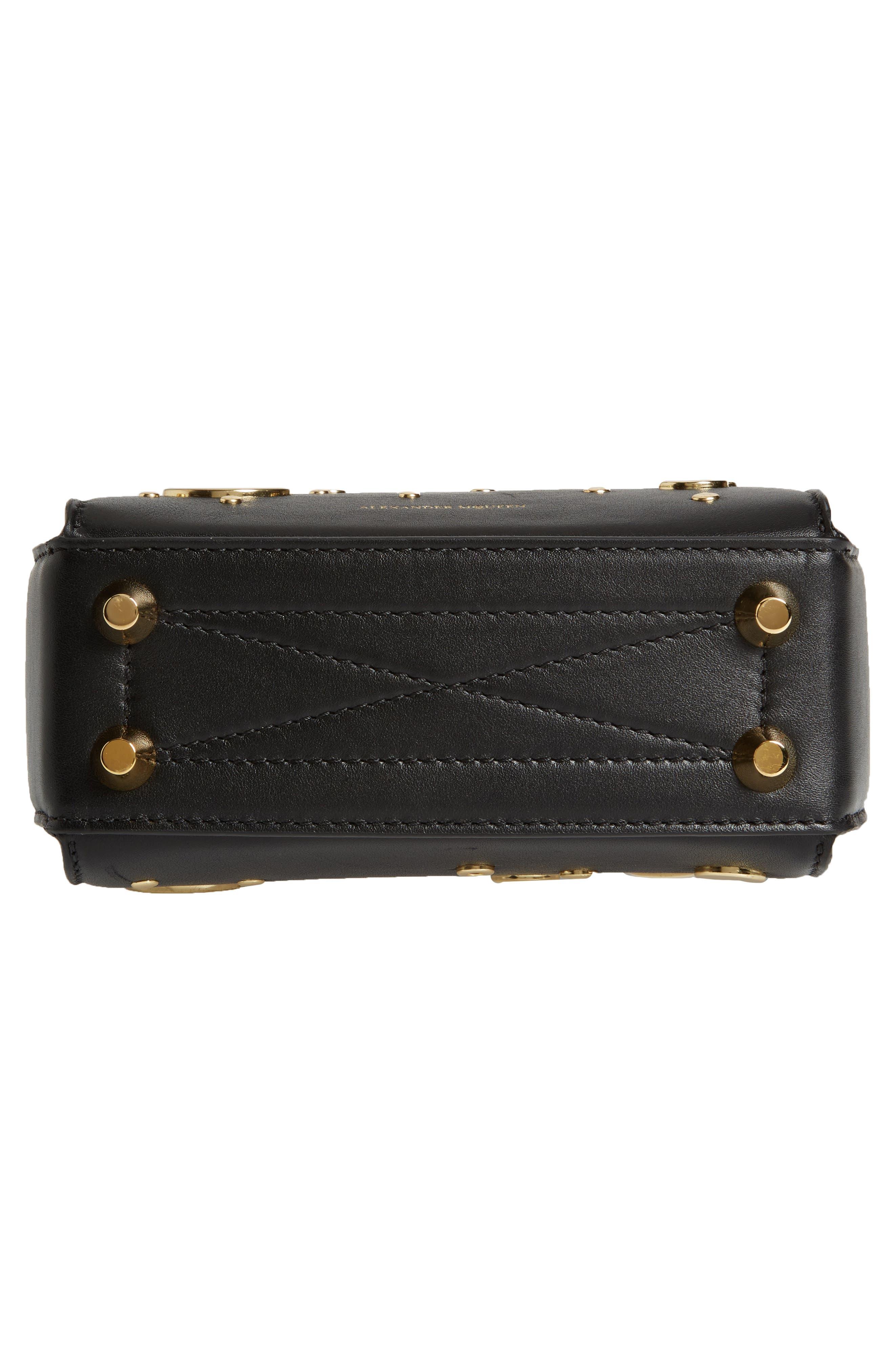 Grommet & Stud Calfskin Leather Box Bag,                             Alternate thumbnail 5, color,                             Black