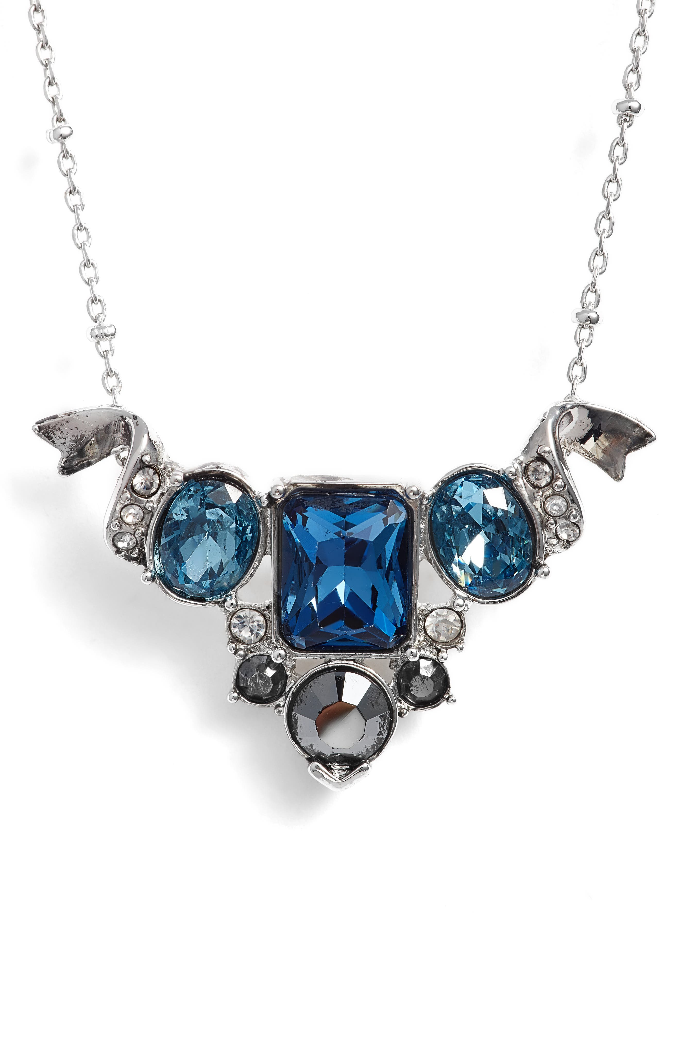 Pendant Necklace,                         Main,                         color, Silver/ Crystal/ Blue Multi