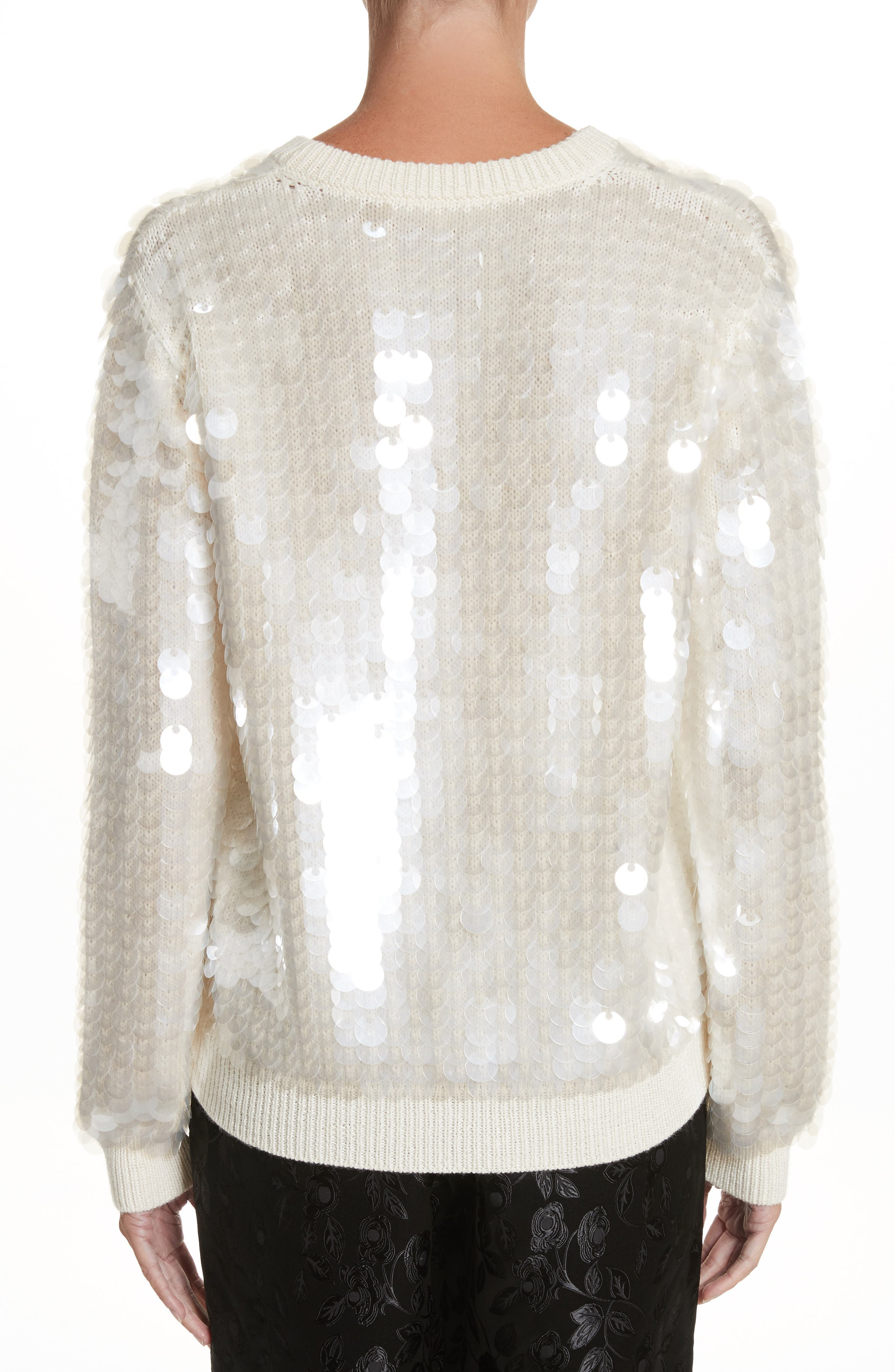 Sequin Wool Sweater,                             Alternate thumbnail 2, color,                             Ivory