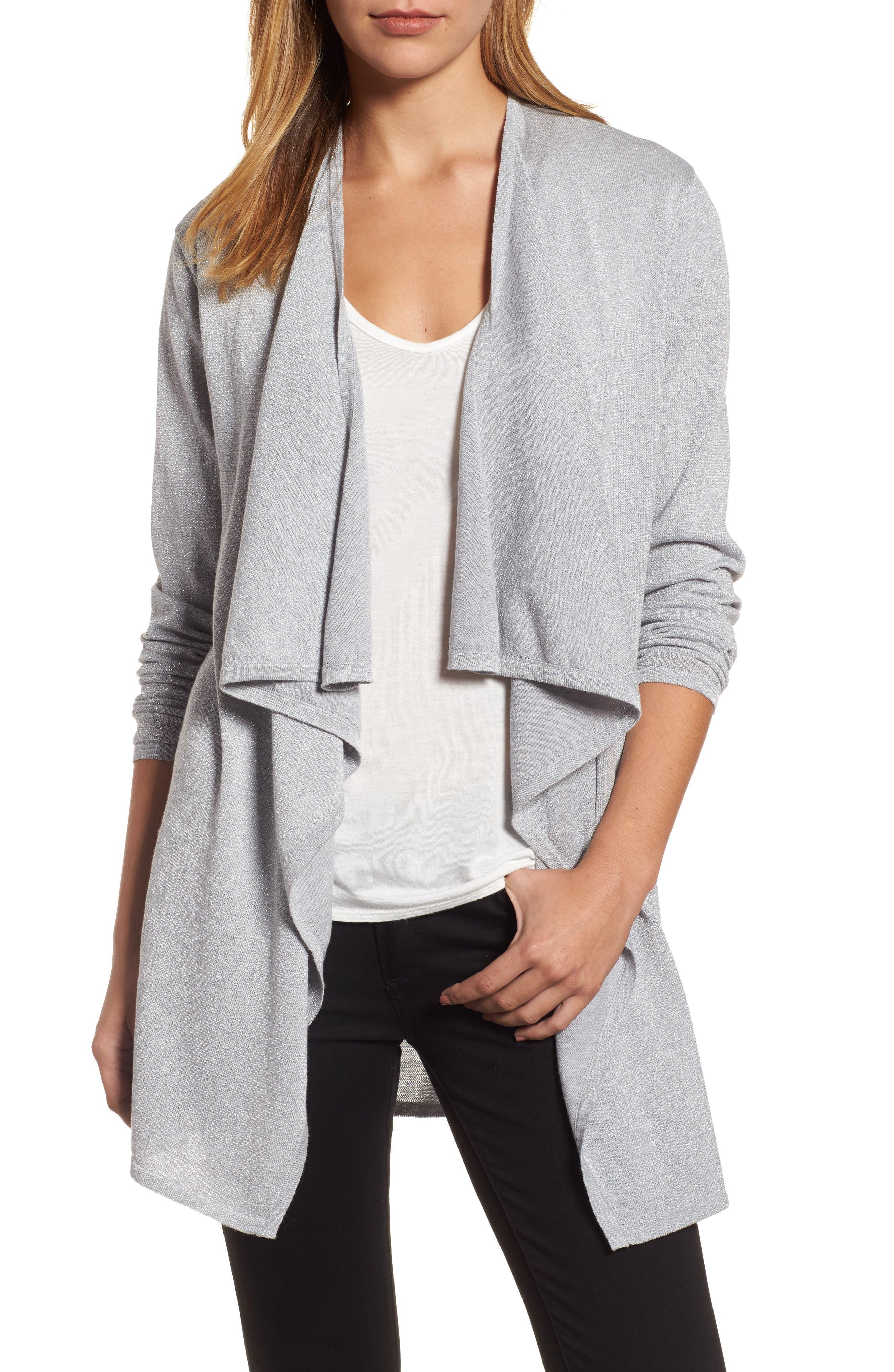 Metallic Drape Front Cardigan,                         Main,                         color, Pearl Heather