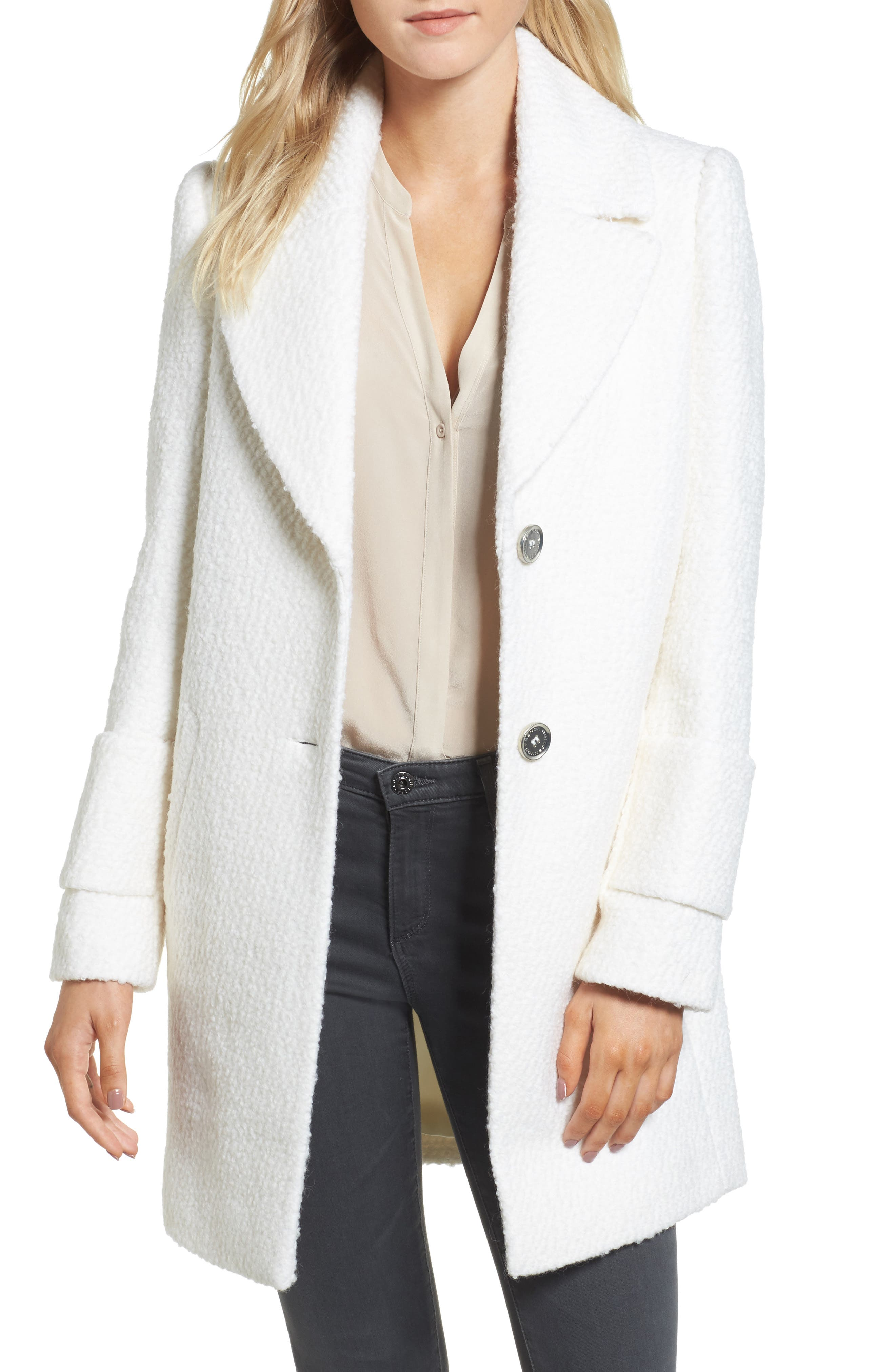 Notch Collar Bouclé Car Coat,                         Main,                         color, Winter White