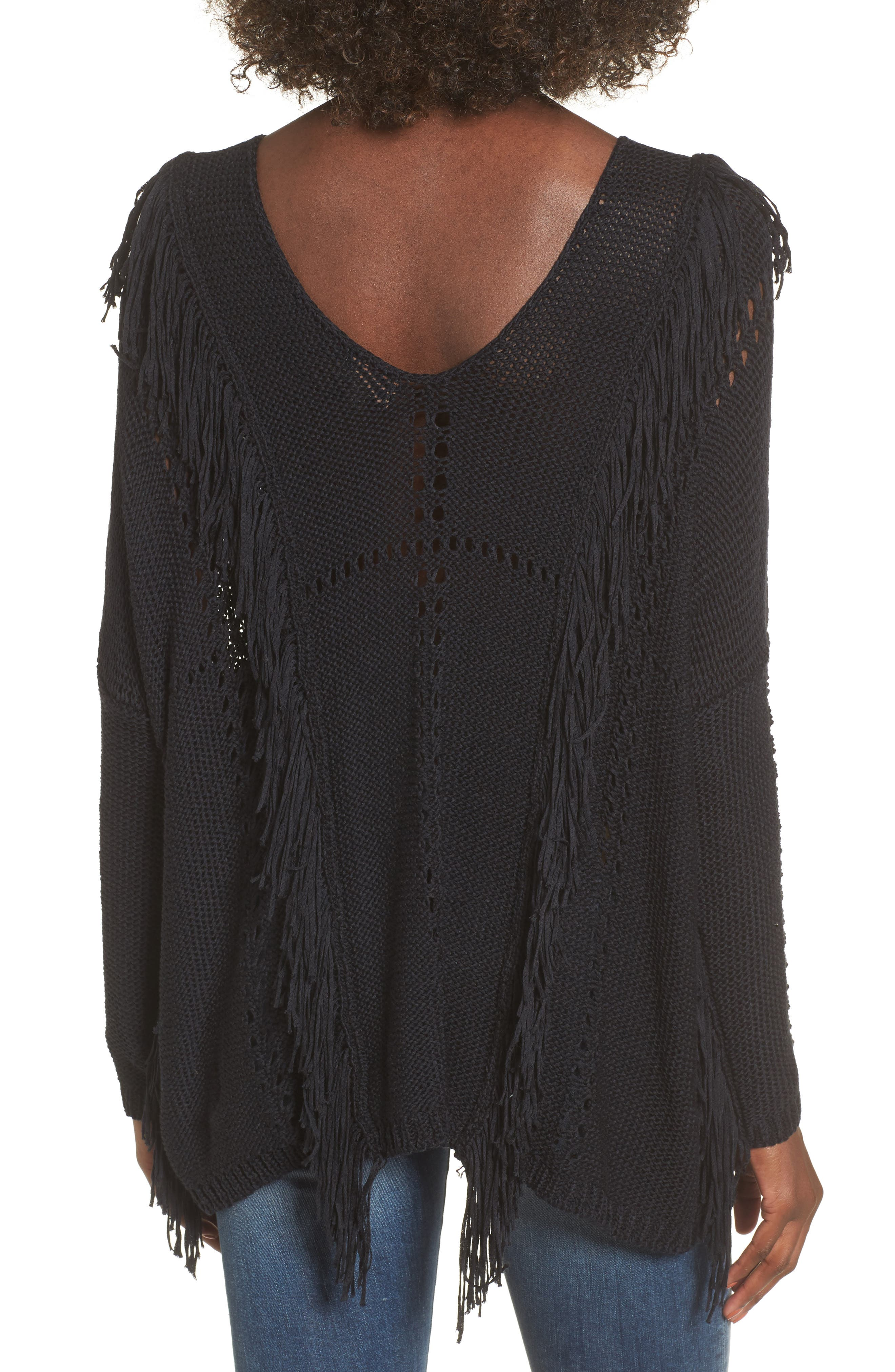 Enya Fringe Sweater,                             Alternate thumbnail 2, color,                             Black