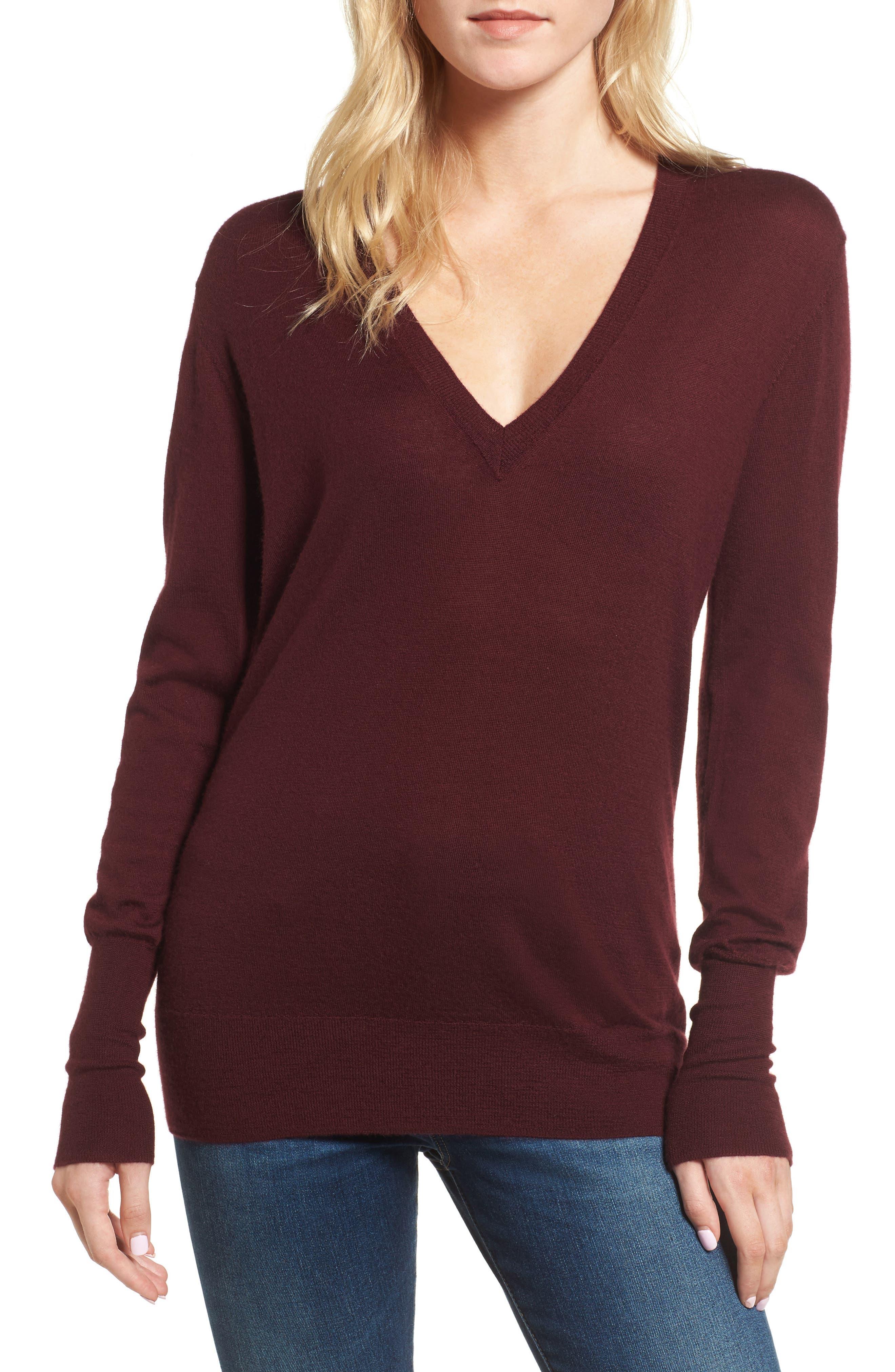 Uma V-Neck Cashmere Sweater,                         Main,                         color, Deep Currant