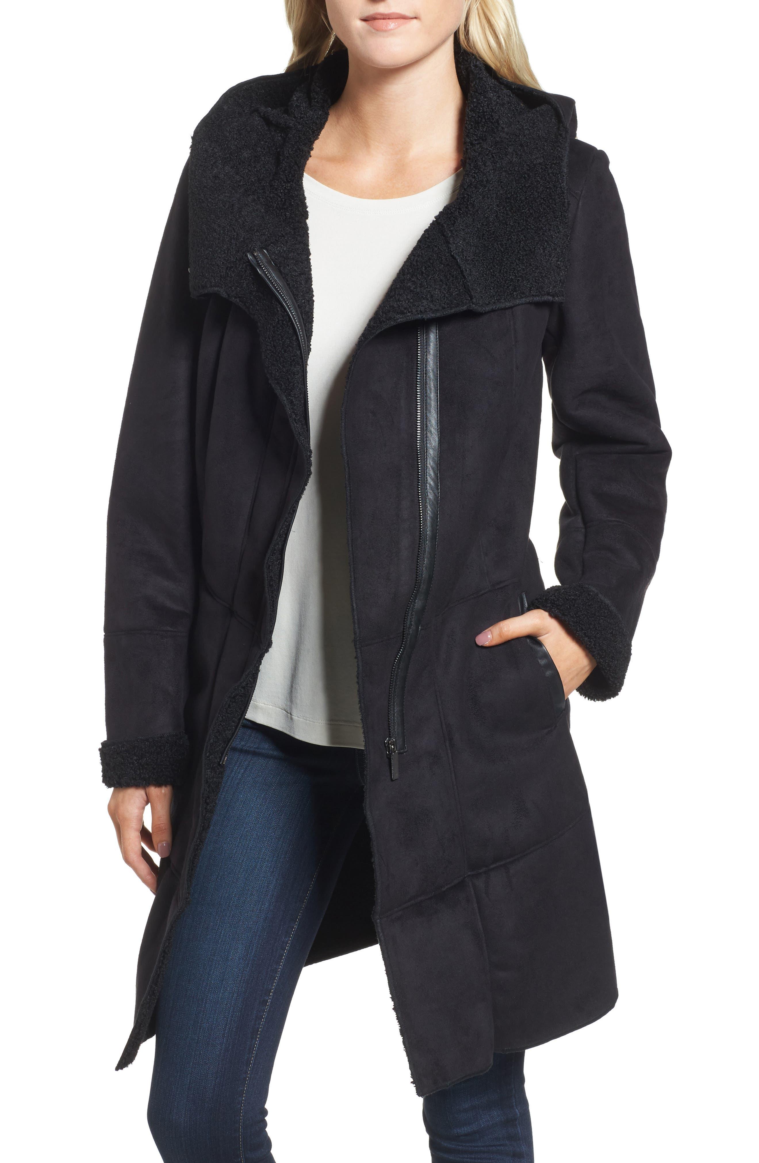 Faux Shearling Hooded Coat,                         Main,                         color, Black