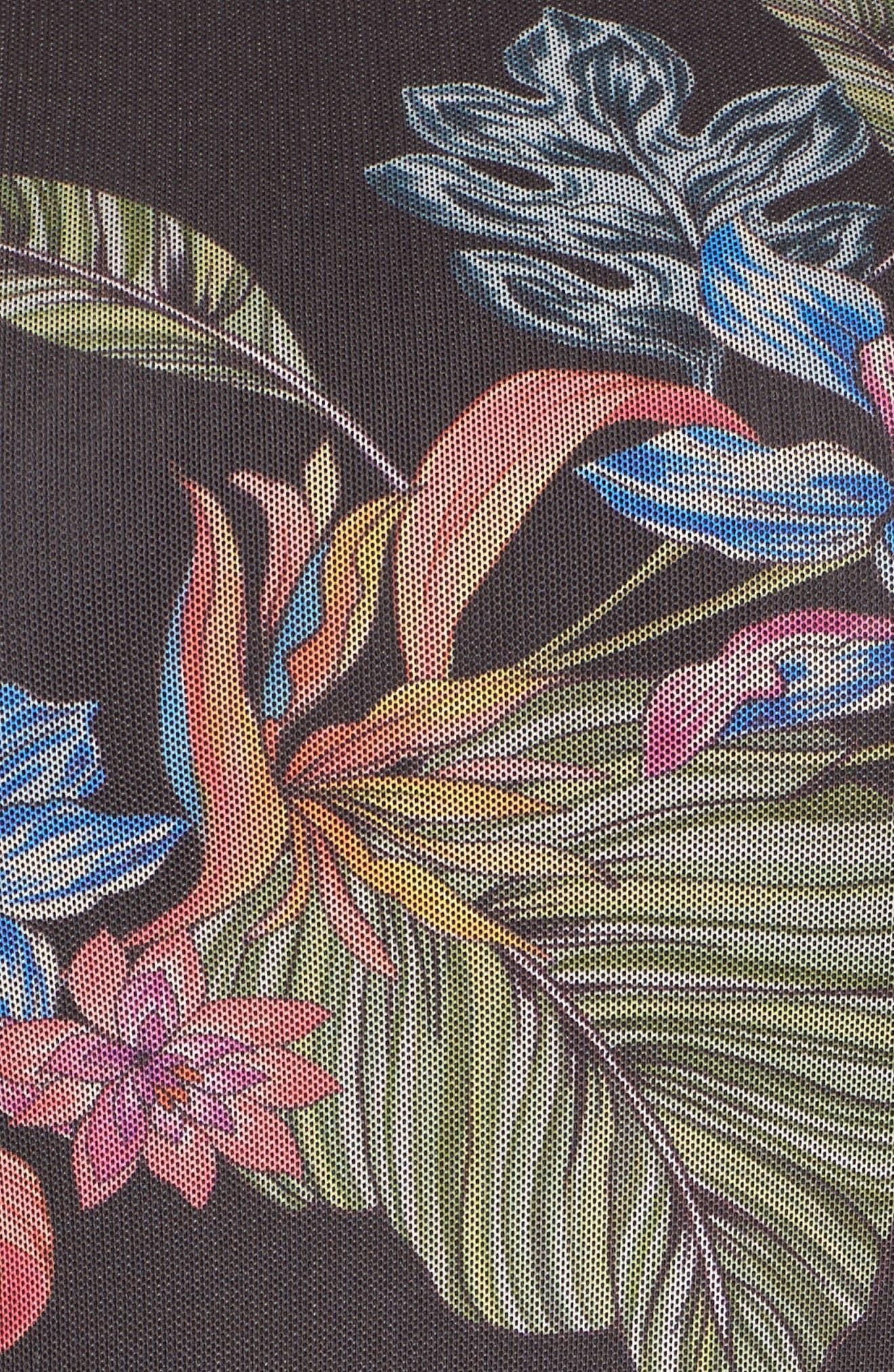 Tropic Print Mesh Dress,                             Alternate thumbnail 5, color,                             Dark Multi