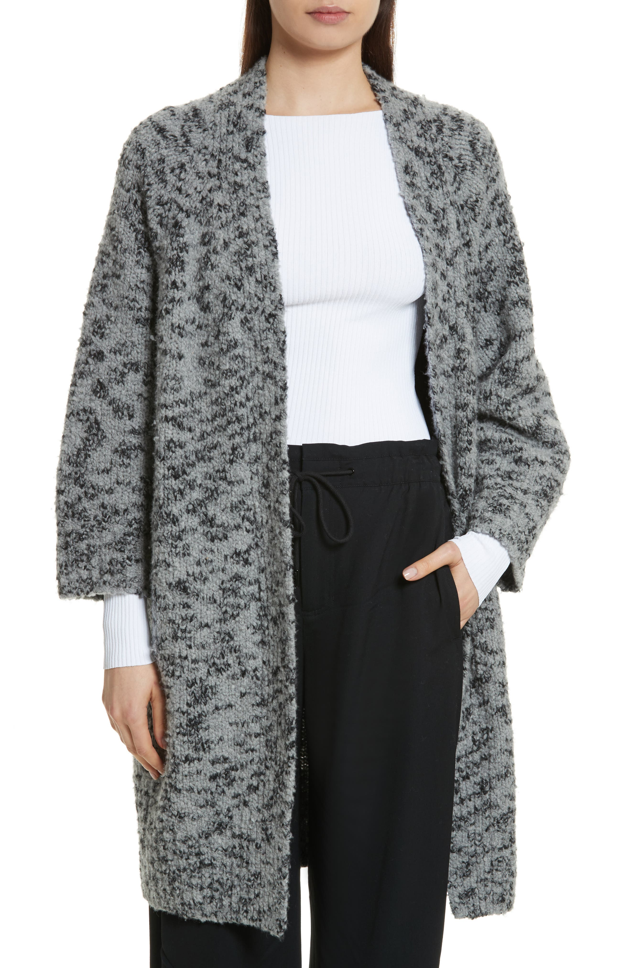 Textured Wool Blend Cardigan,                             Main thumbnail 1, color,                             Grey/ Black