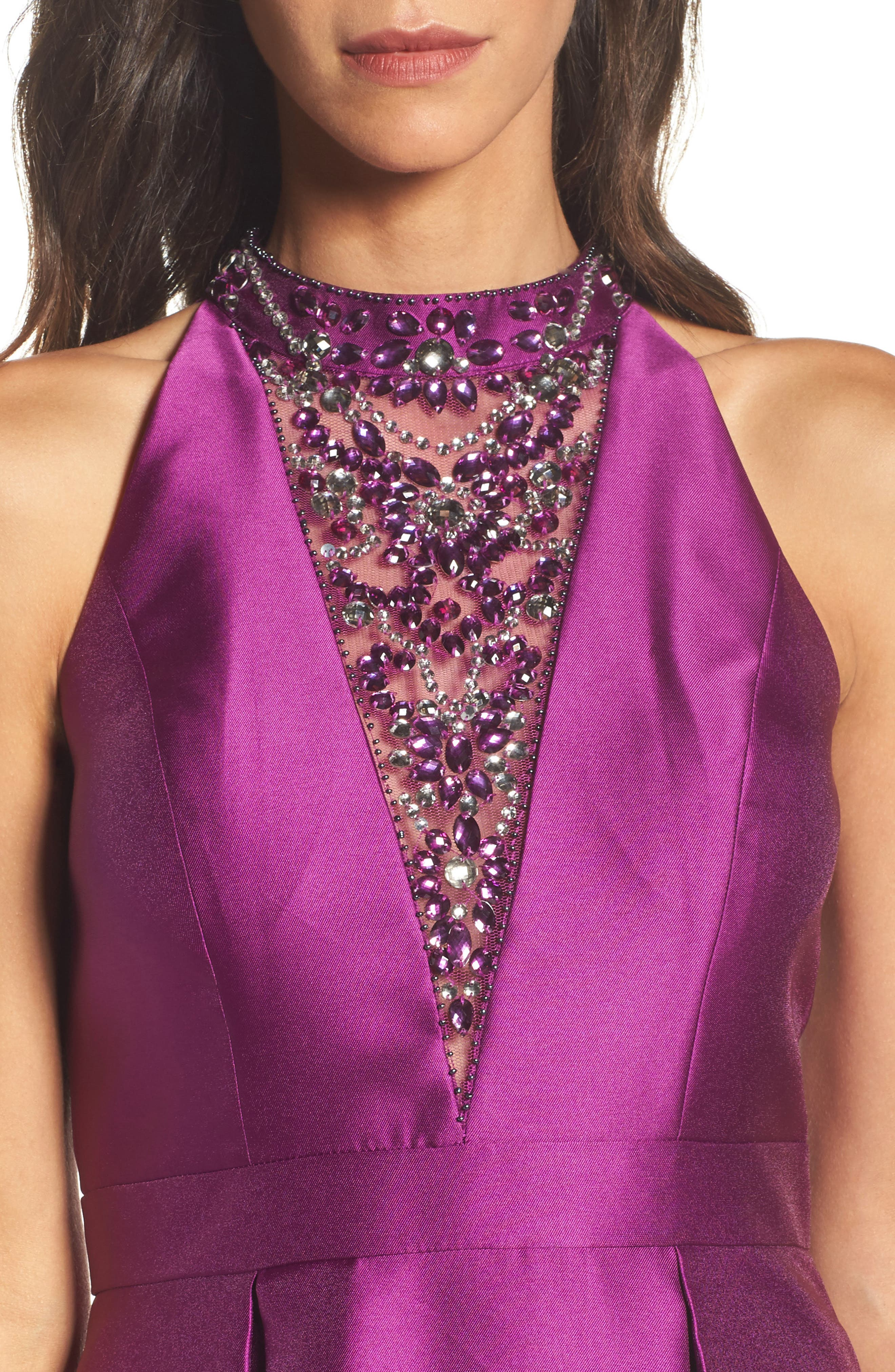 Embellished Mikado High/Low Gown,                             Alternate thumbnail 4, color,                             Ultra Berry