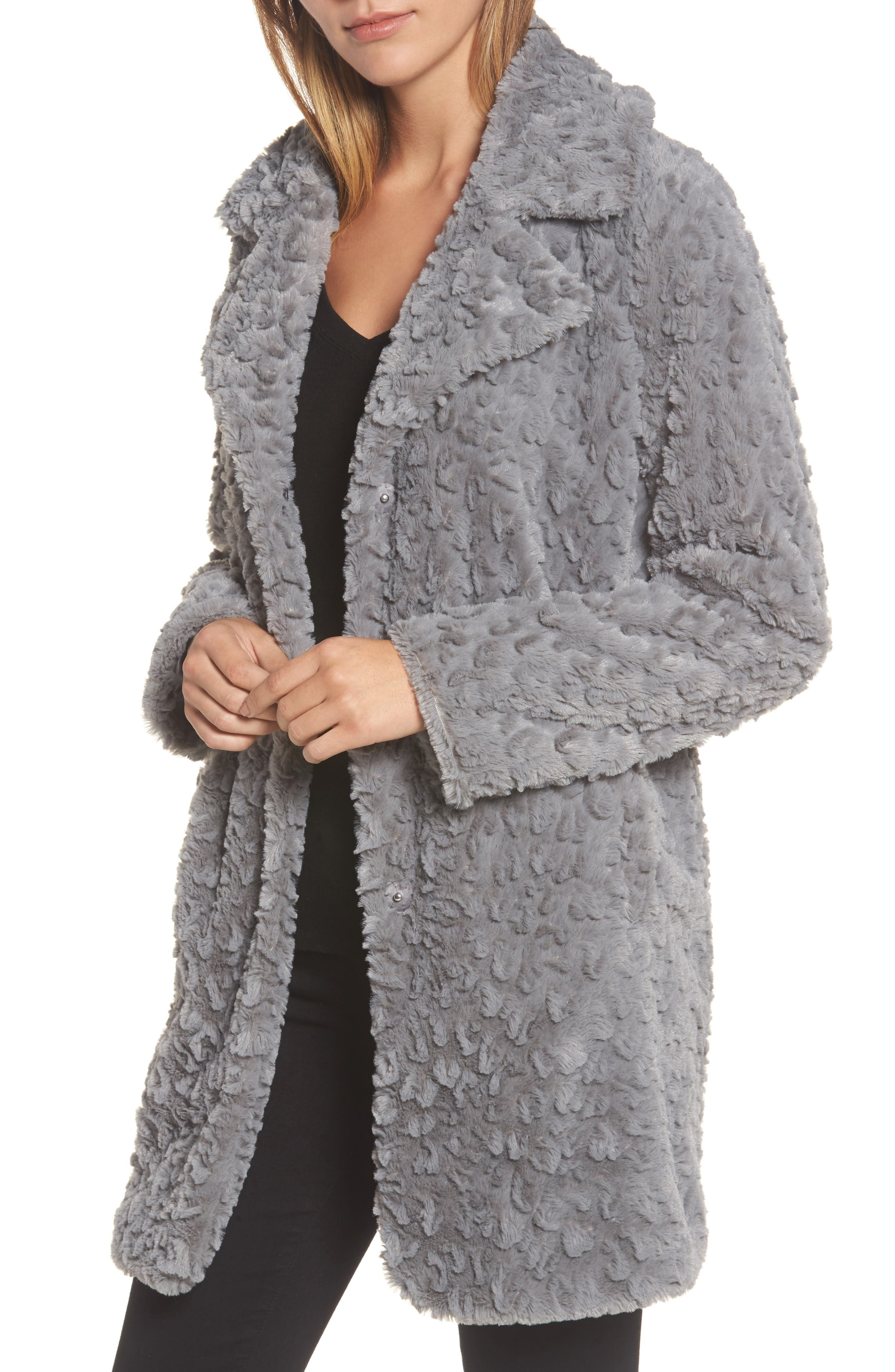 Faux Fur Coat,                             Main thumbnail 1, color,                             Grey
