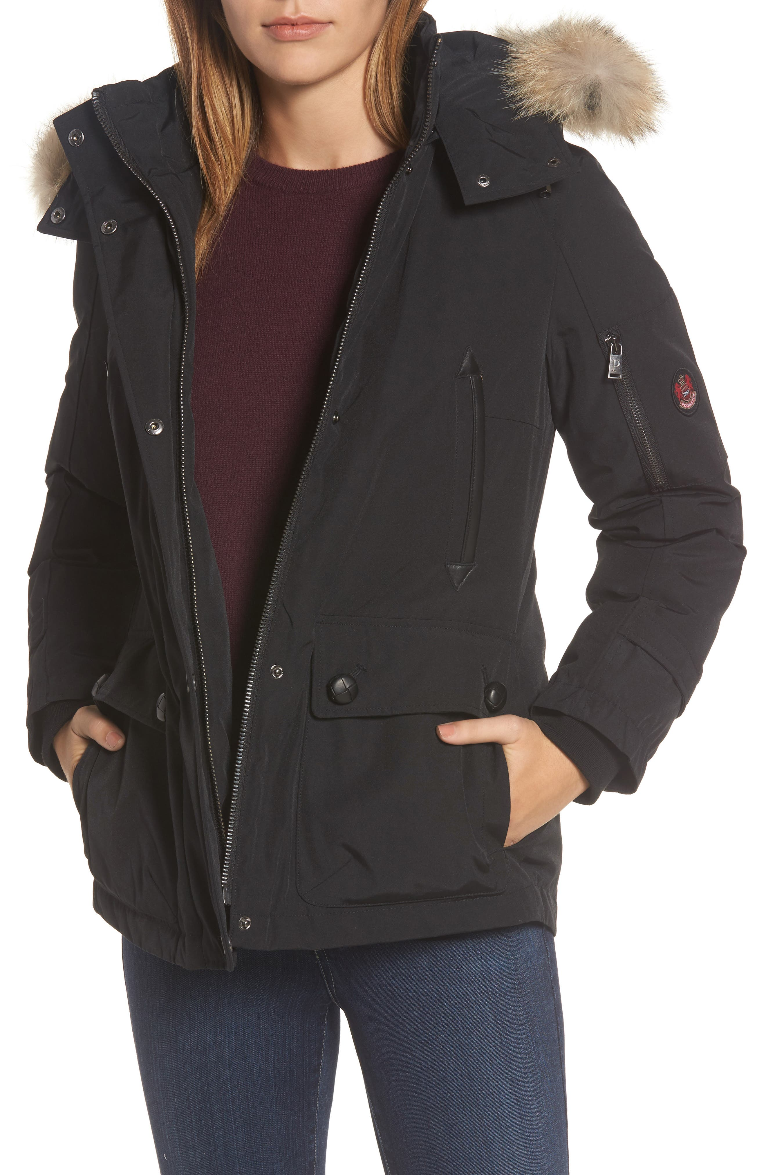 Pendleton Bachelor Water Repellent Hooded Down Parka with Genuine Coyote Fur Trim