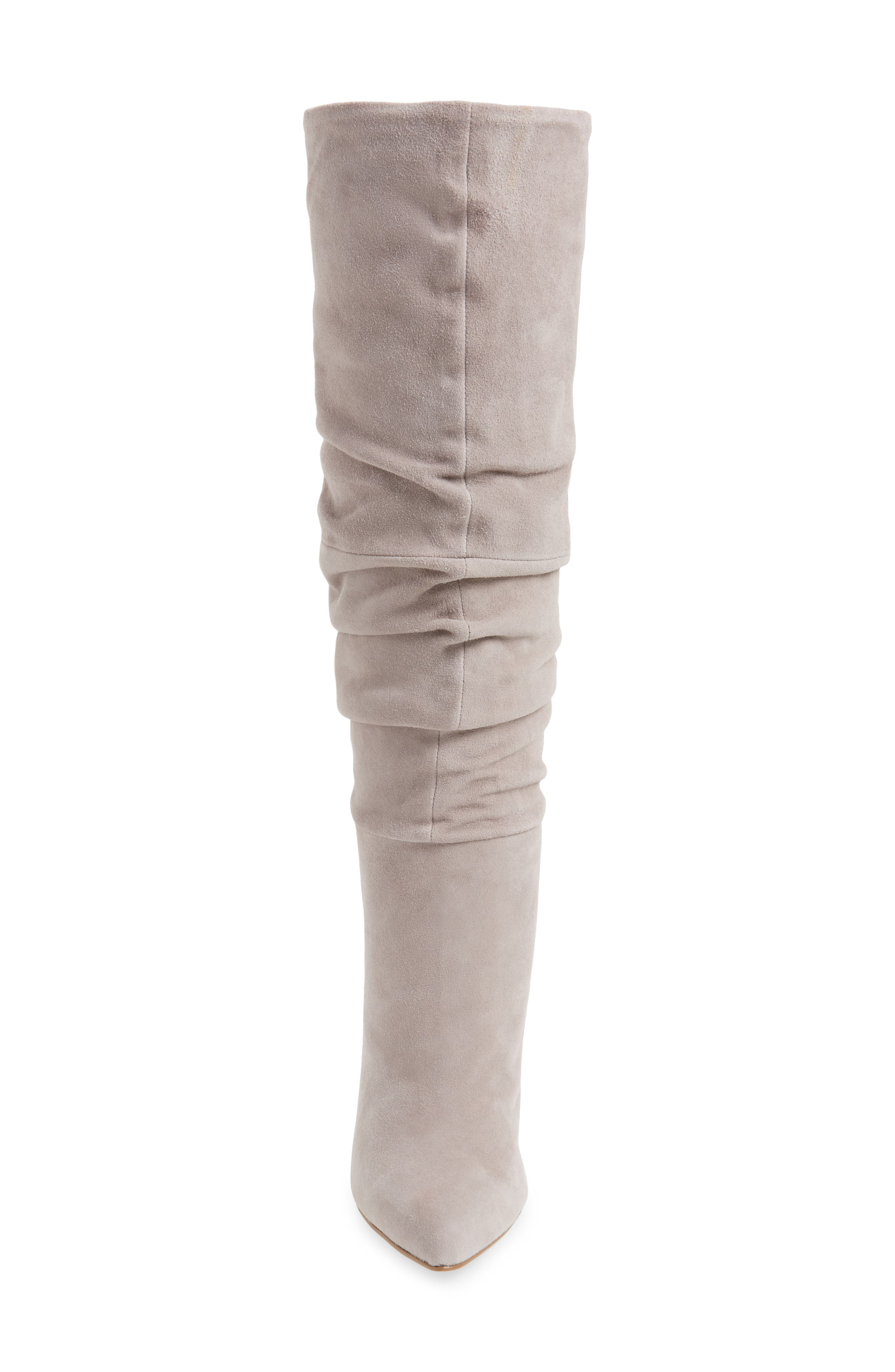 Carrie Slouchy Boot,                             Alternate thumbnail 5, color,                             Grey Suede
