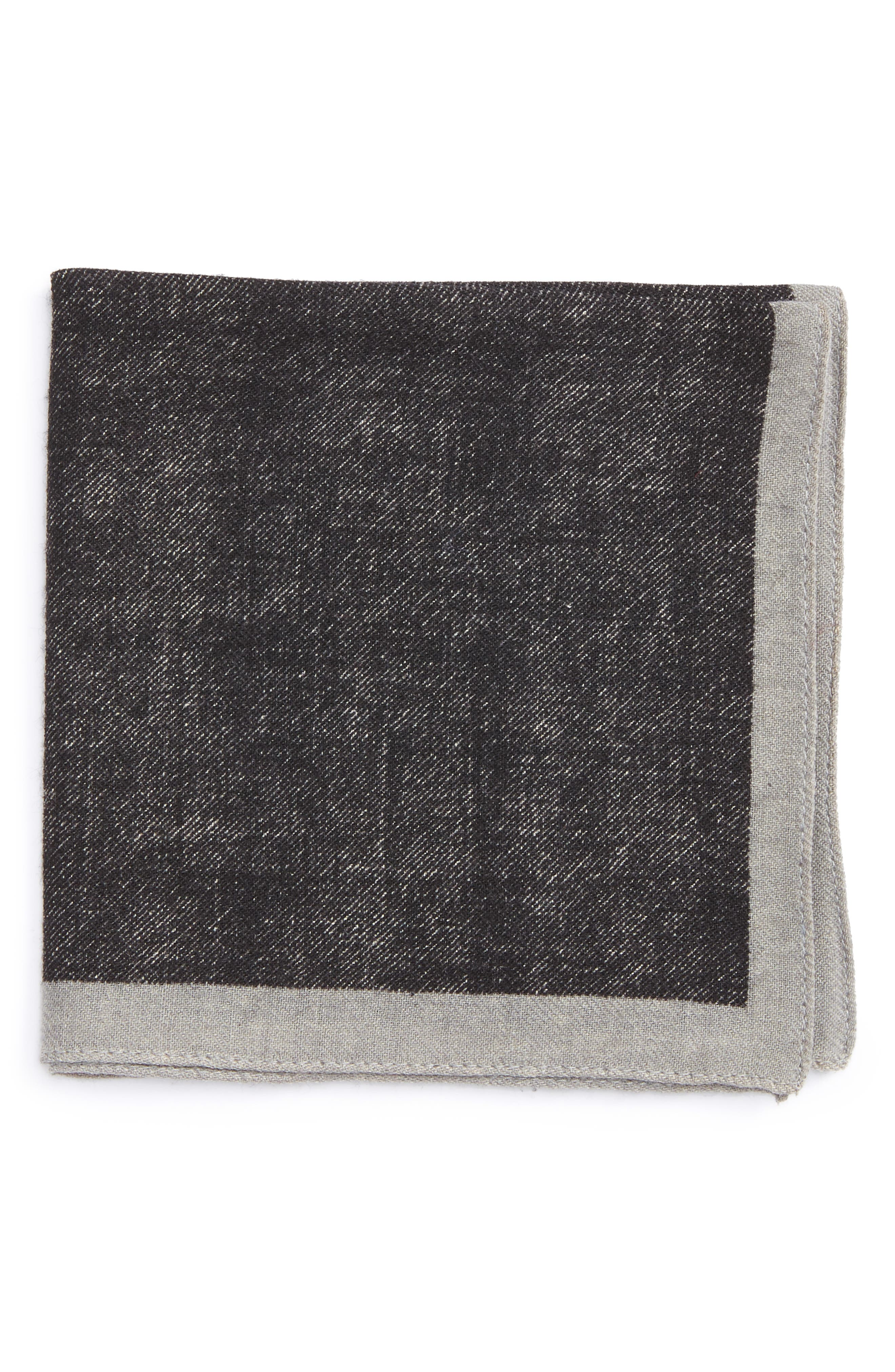 Solid Wool Pocket Square,                         Main,                         color, Grey