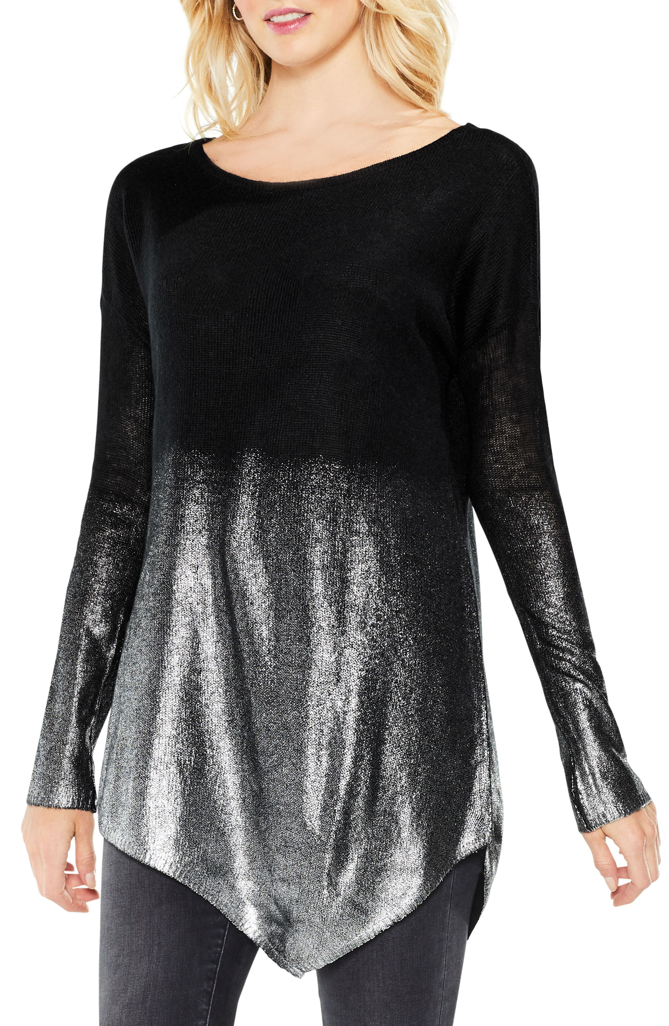 Two by Vince Camuto Asymmetrical Metallic Ombré Sweater