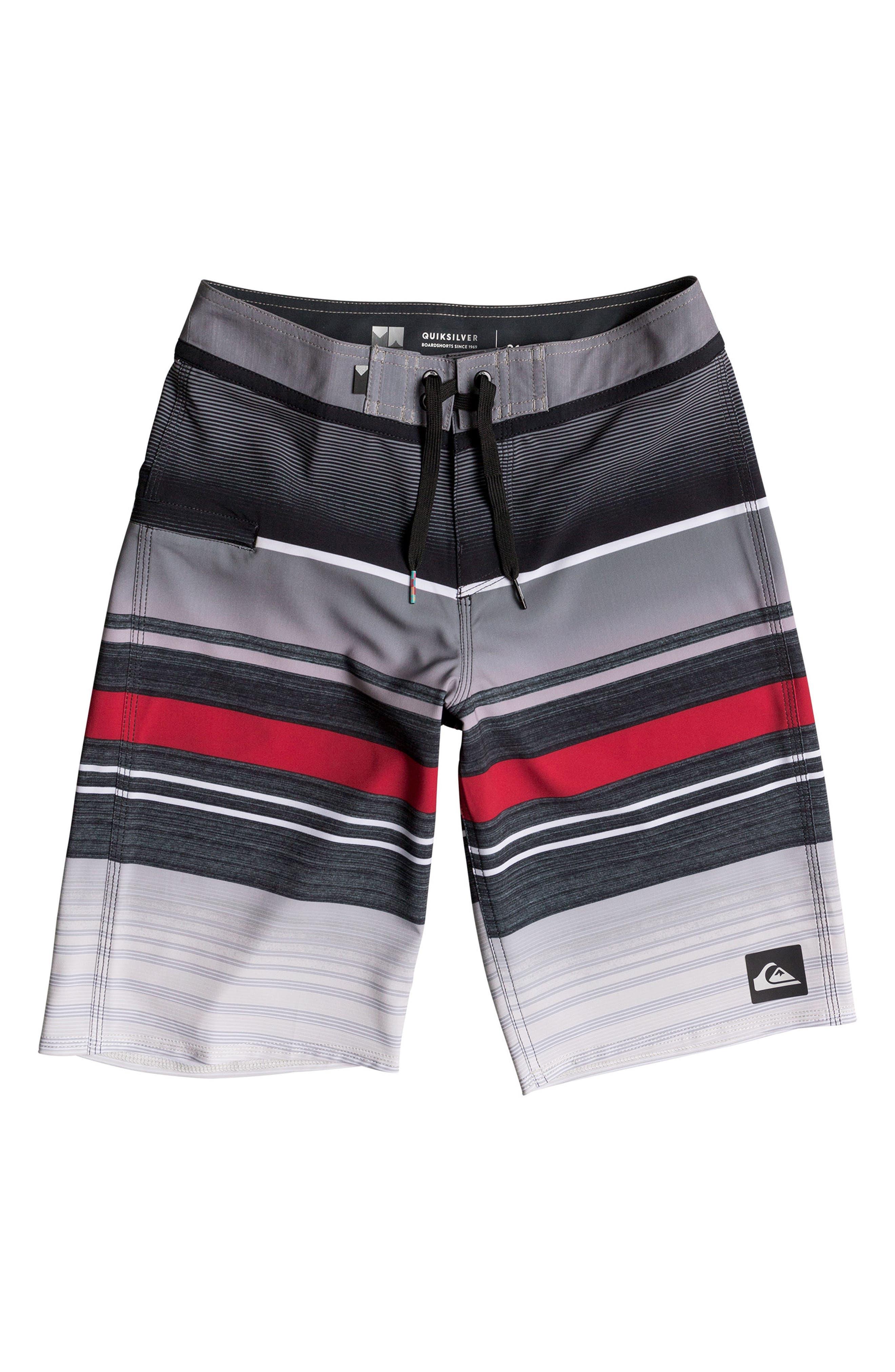 Everyday Stripe Vee Board Shorts,                             Main thumbnail 1, color,                             Black