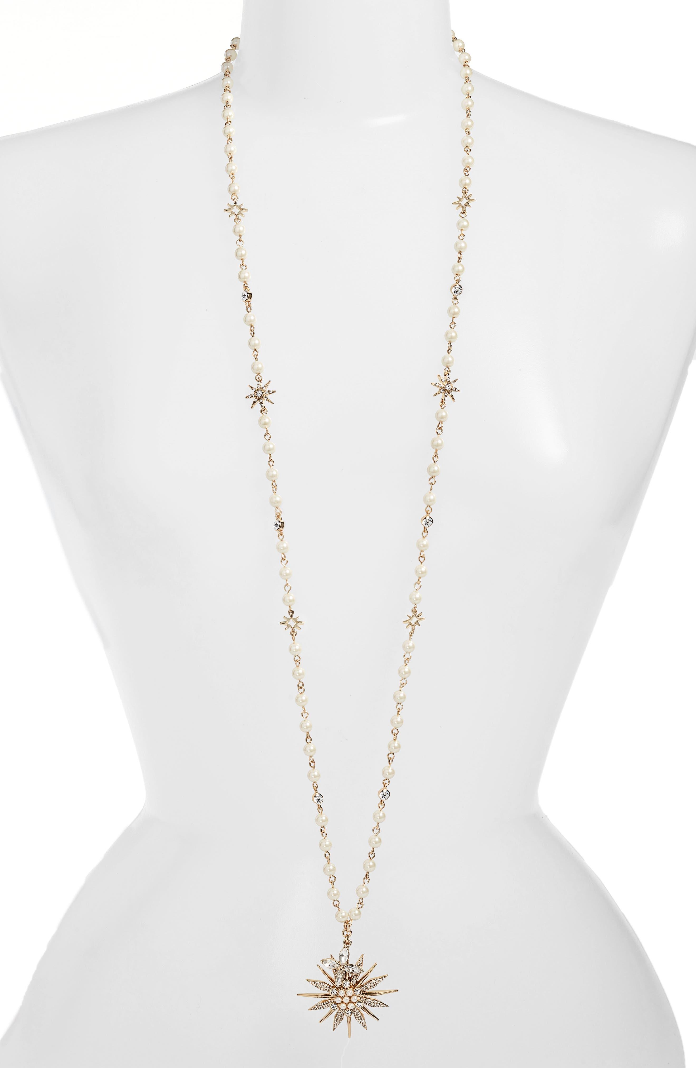 Jenny Packham Long Star Drop Beaded Necklace
