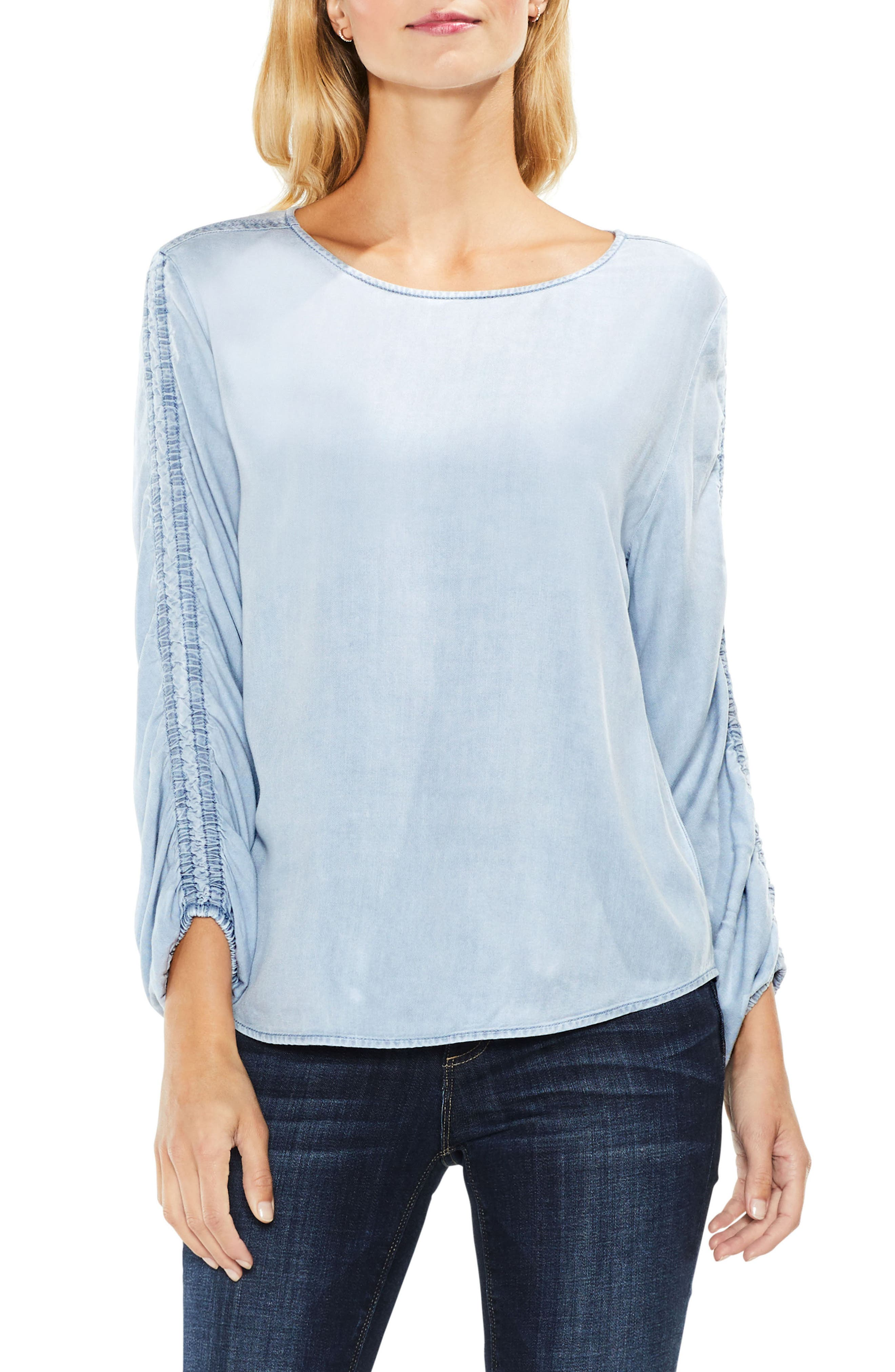 Alternate Image 1 Selected - Two by Vince Camuto Ruched Sleeve Pastel Fade Top