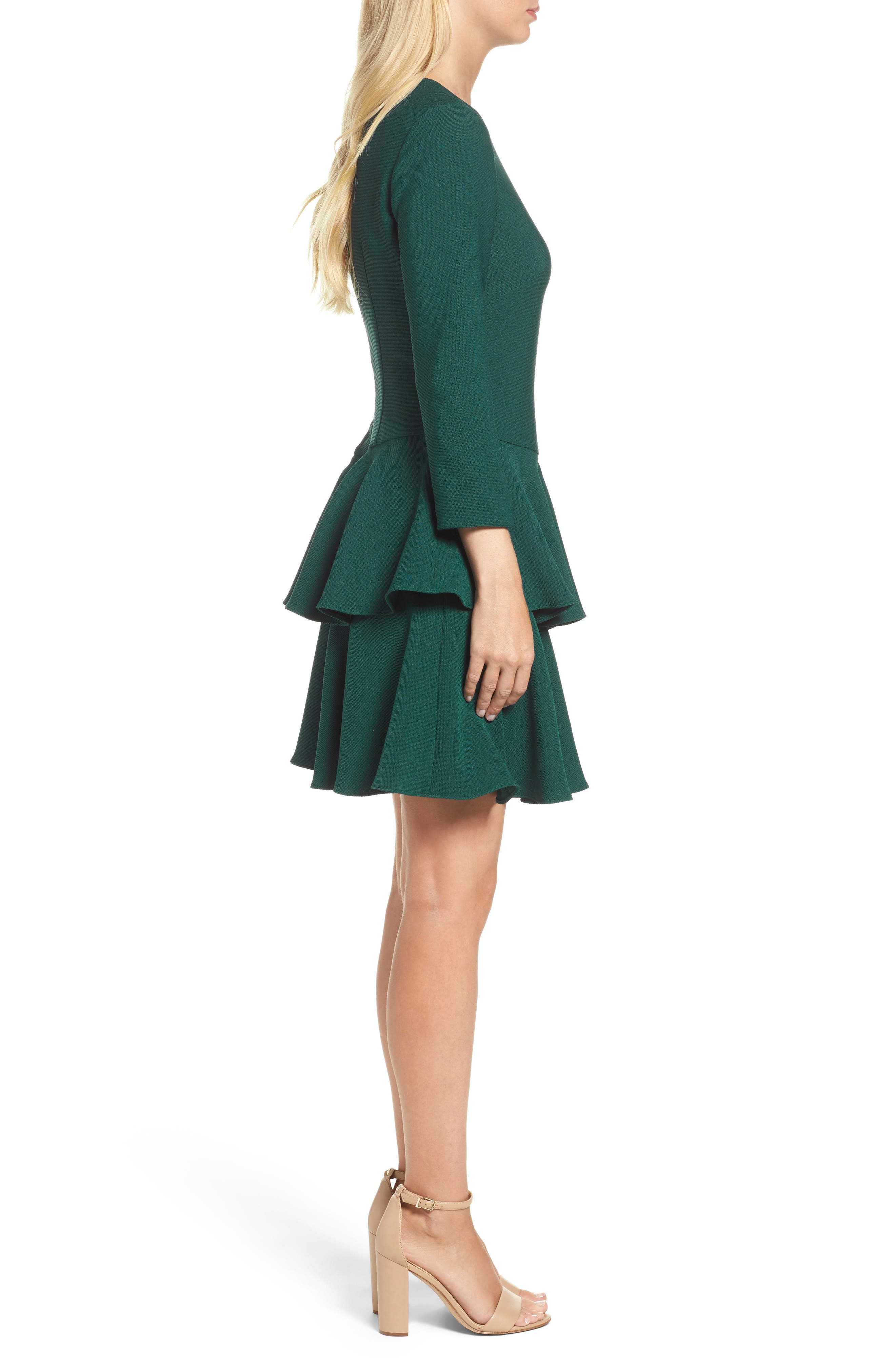 Tiered Ruffle Knit Dress,                             Alternate thumbnail 3, color,                             Hunter