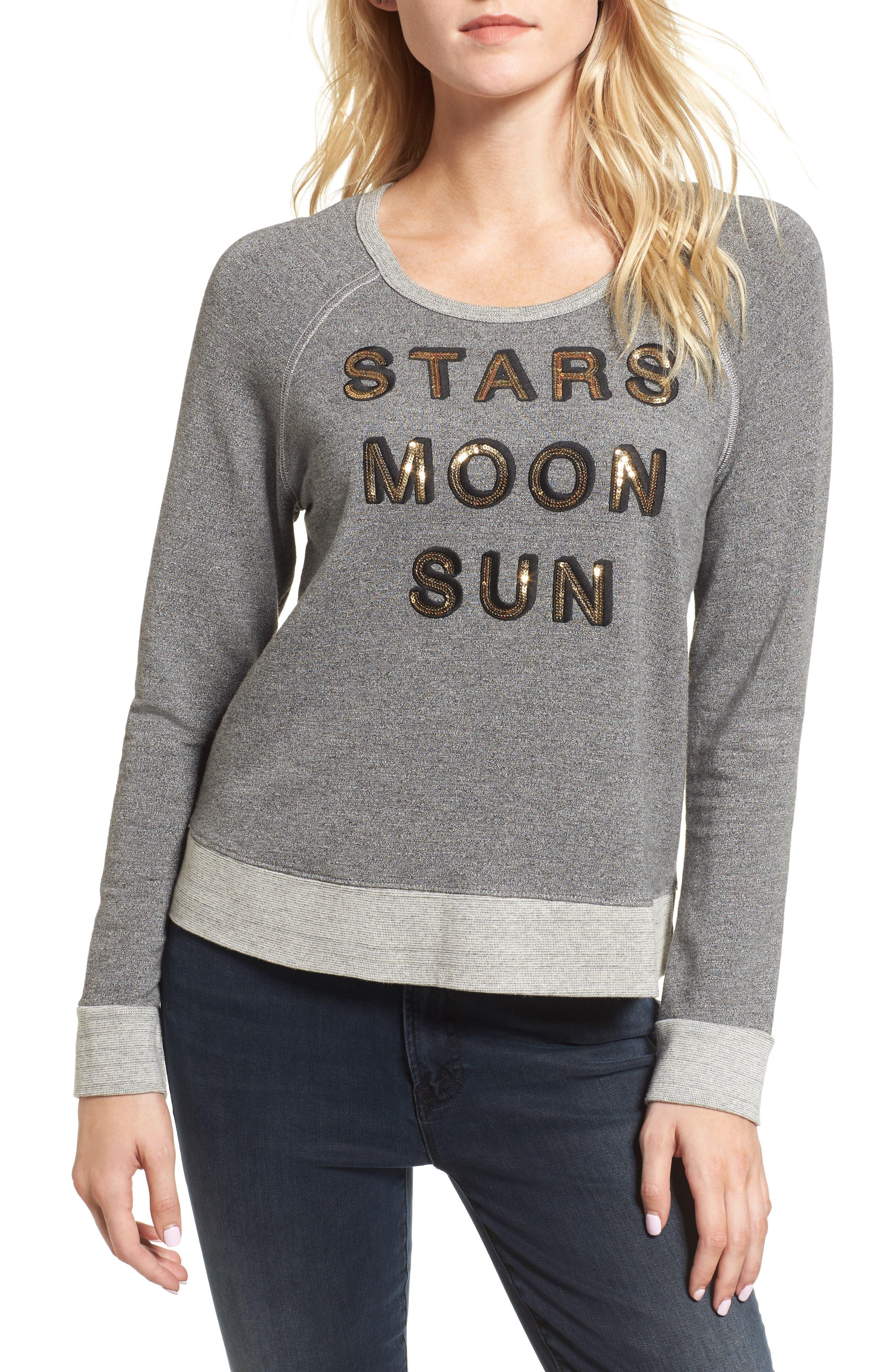 Main Image - Sundry Stars Moon Sun Crop Sweatshirt