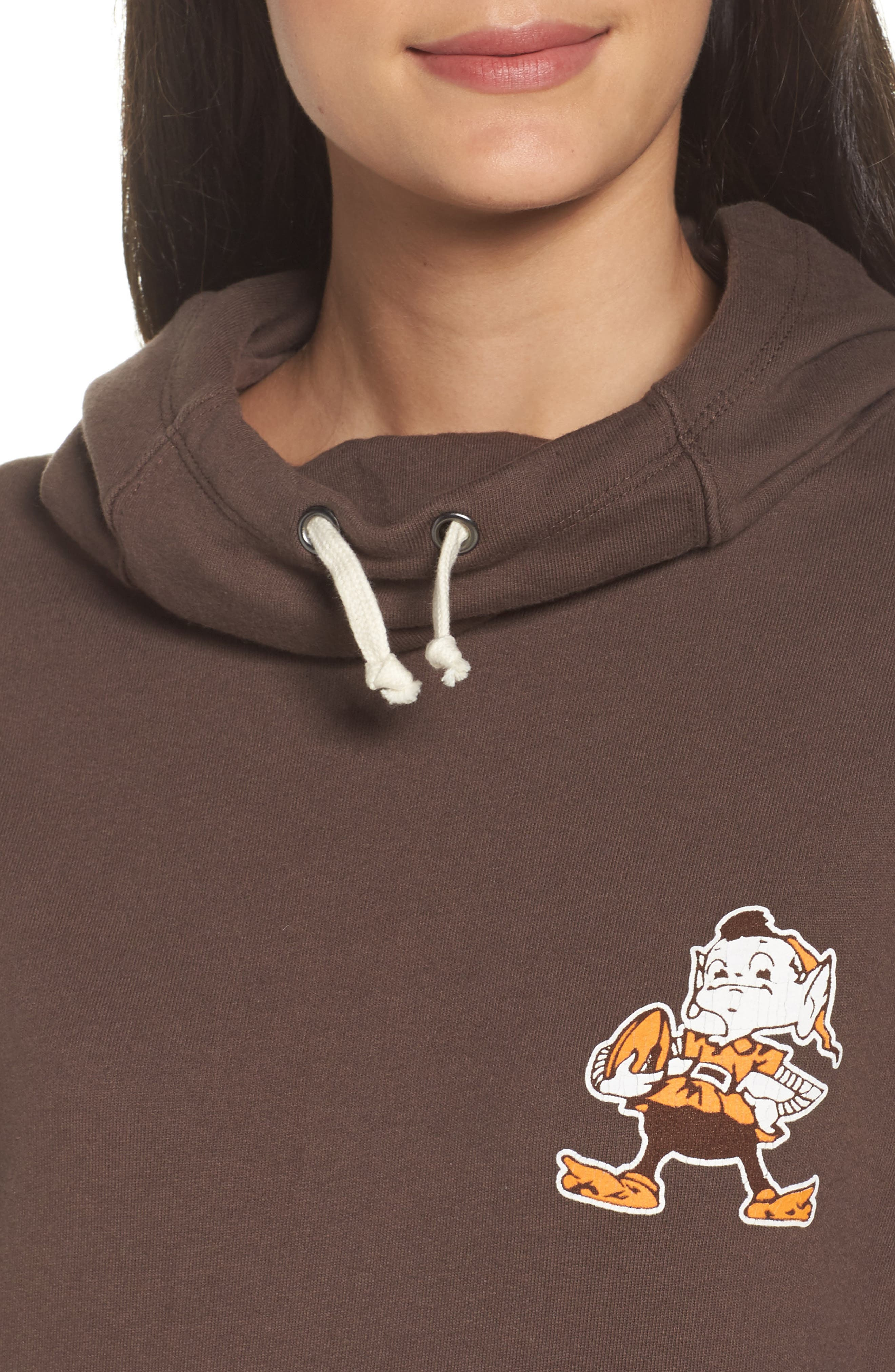 NFL Cleveland Browns Sunday Hoodie,                             Alternate thumbnail 5, color,                             Dark Chocolate