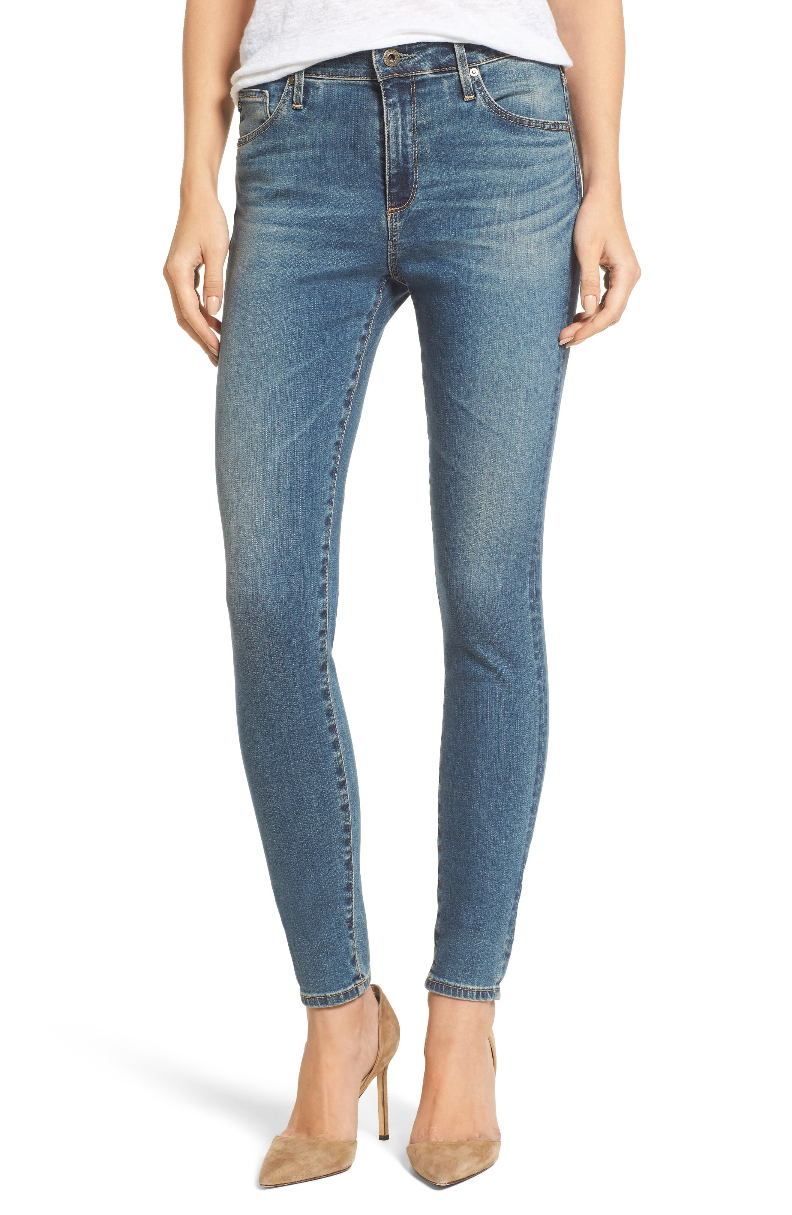 Alternate Image 1 Selected - AG 'The Farrah' High Rise Skinny Jeans