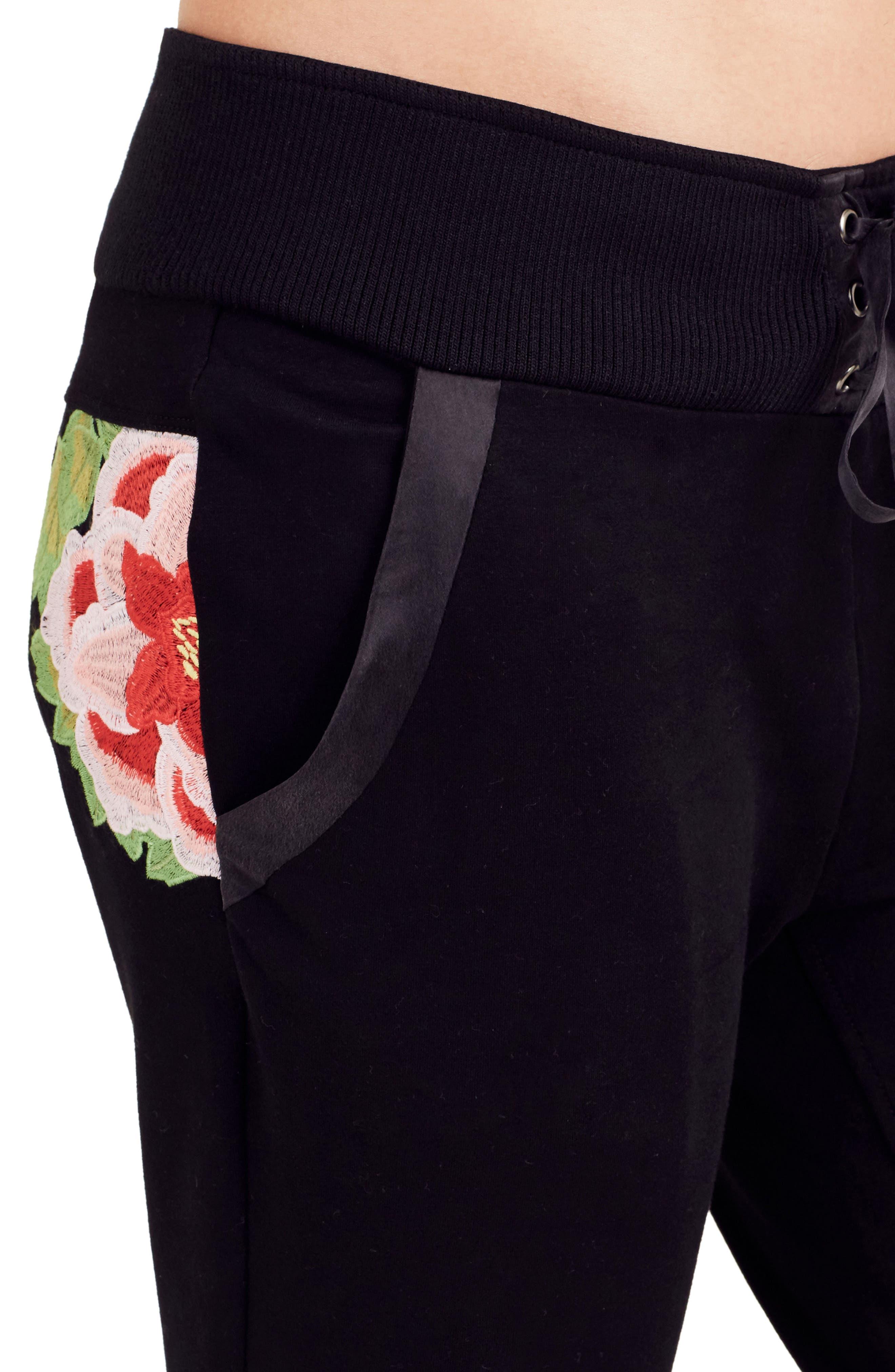 Embroidered Jogger Pants,                             Alternate thumbnail 4, color,                             Black