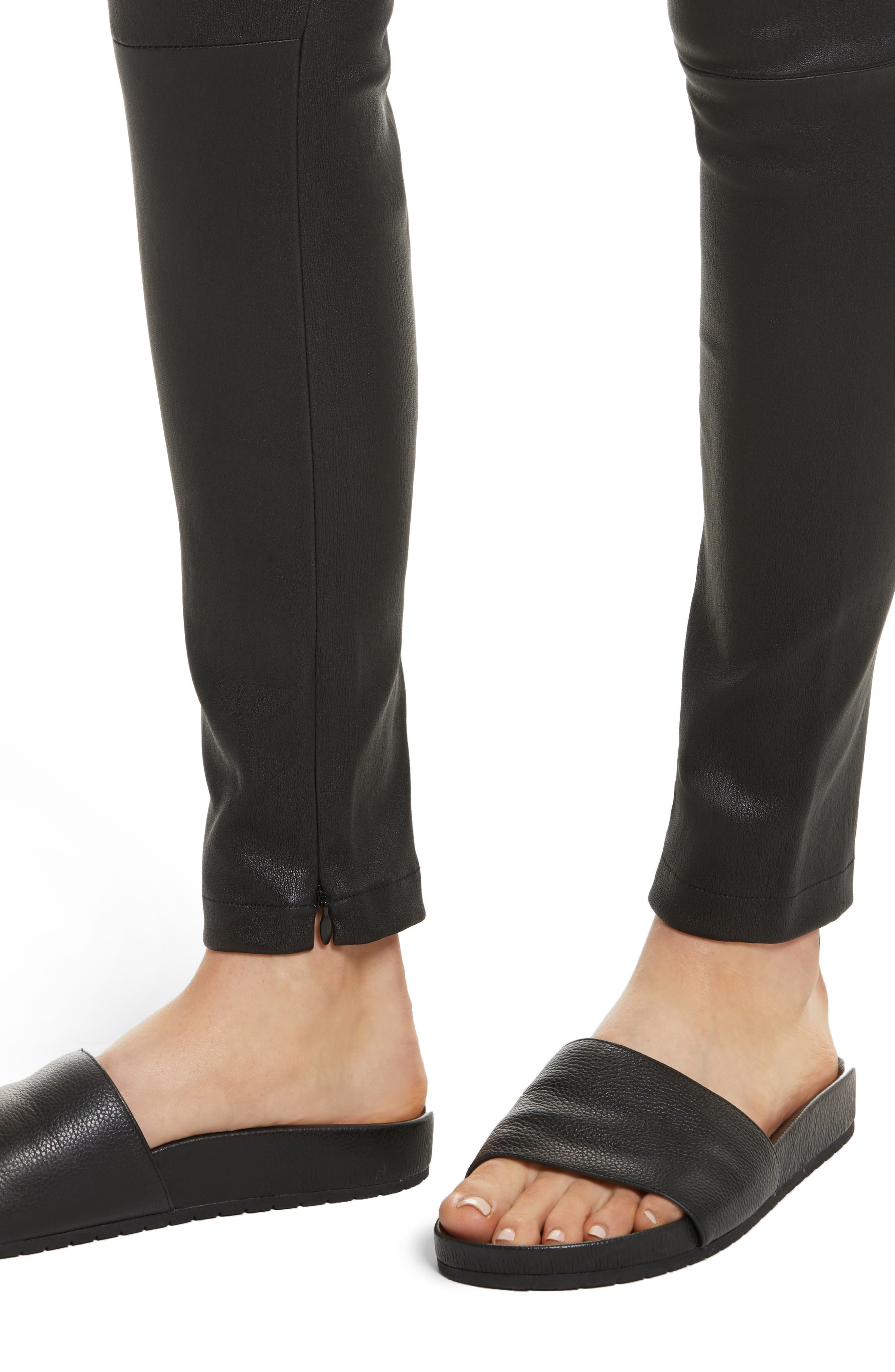 Zip Ankle Leather Leggings,                             Alternate thumbnail 4, color,                             Black