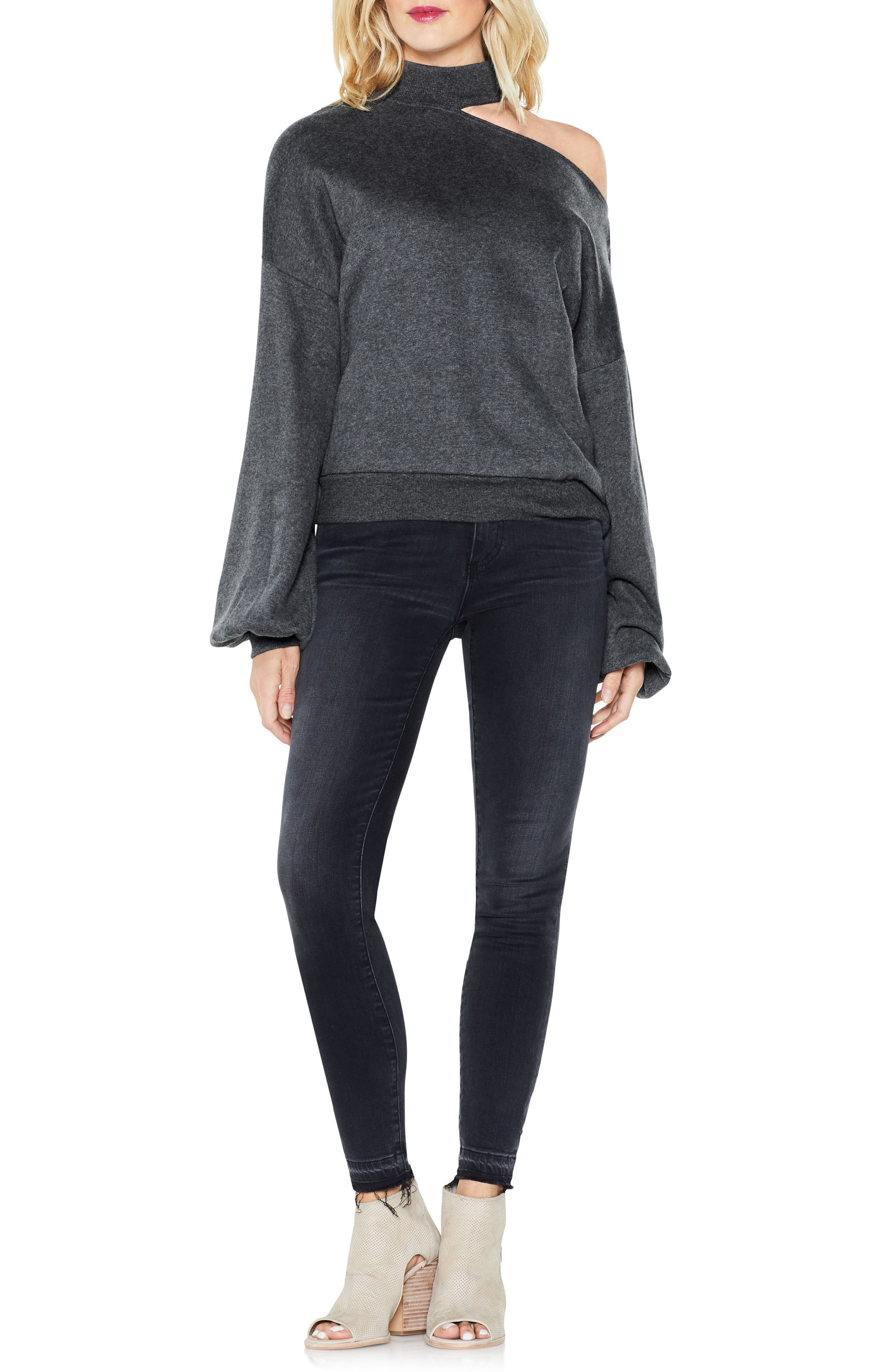 One-Shoulder Pullover,                             Alternate thumbnail 3, color,                             Medium Heather Grey