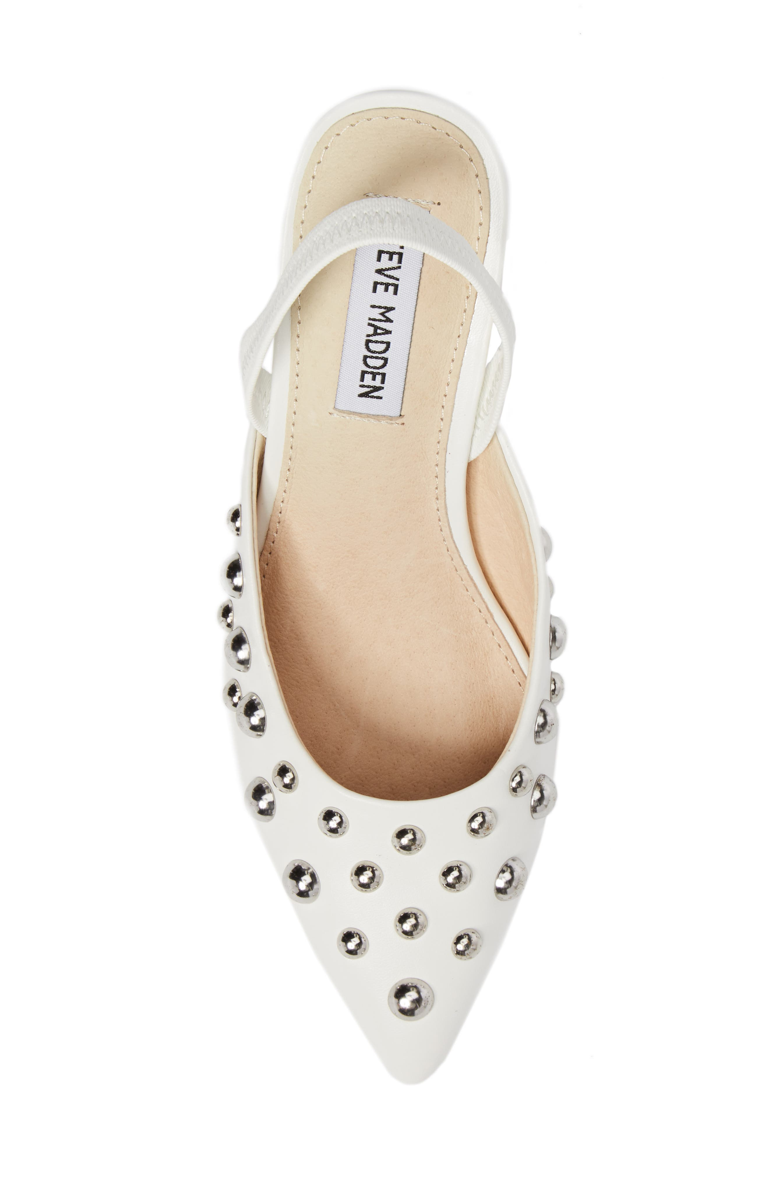 Meteor Studded Pump,                             Alternate thumbnail 5, color,                             White Faux Leather