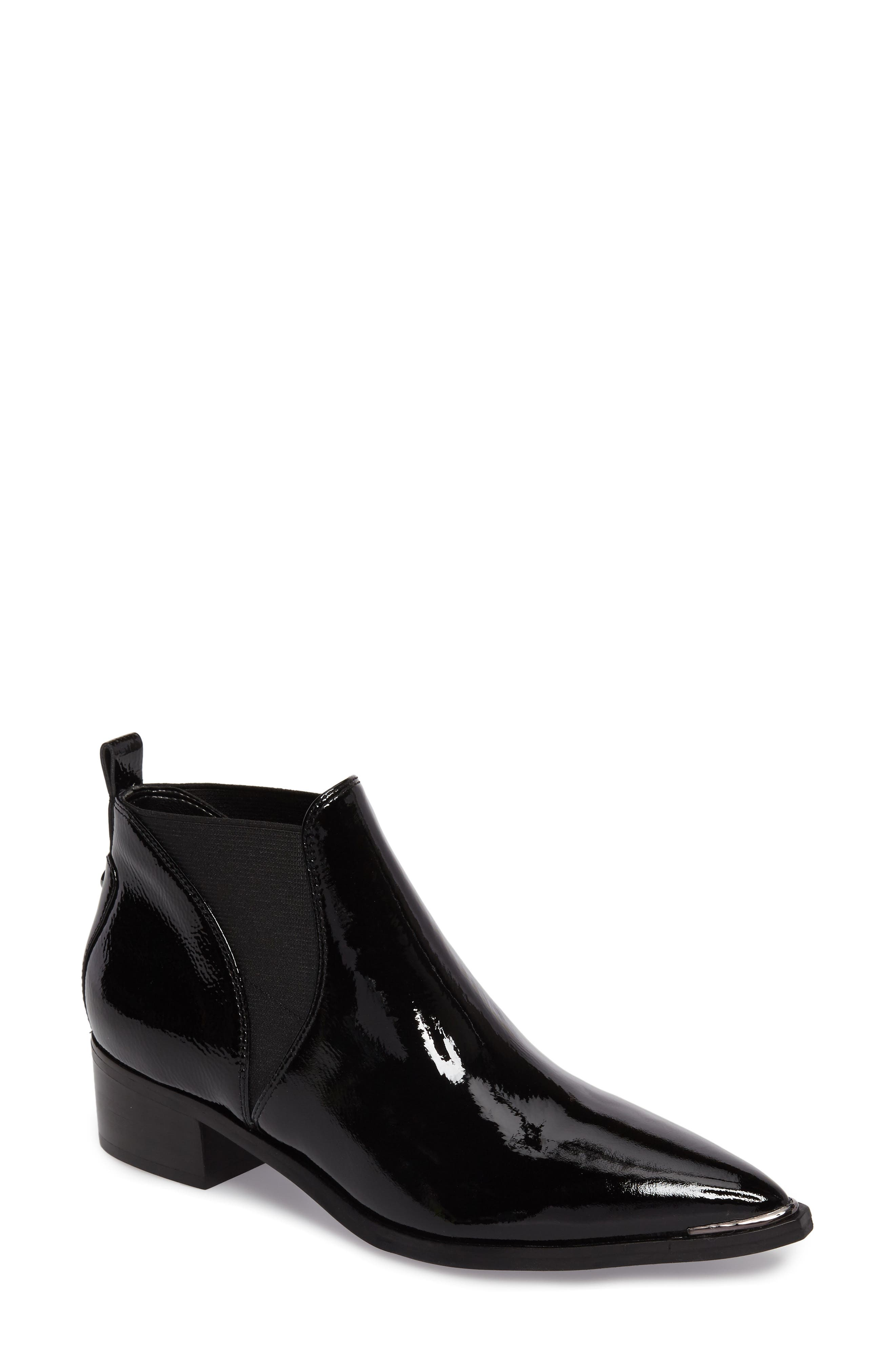 Yellin Pointy Toe Chelsea Boot,                             Main thumbnail 1, color,                             Black Patent Leather
