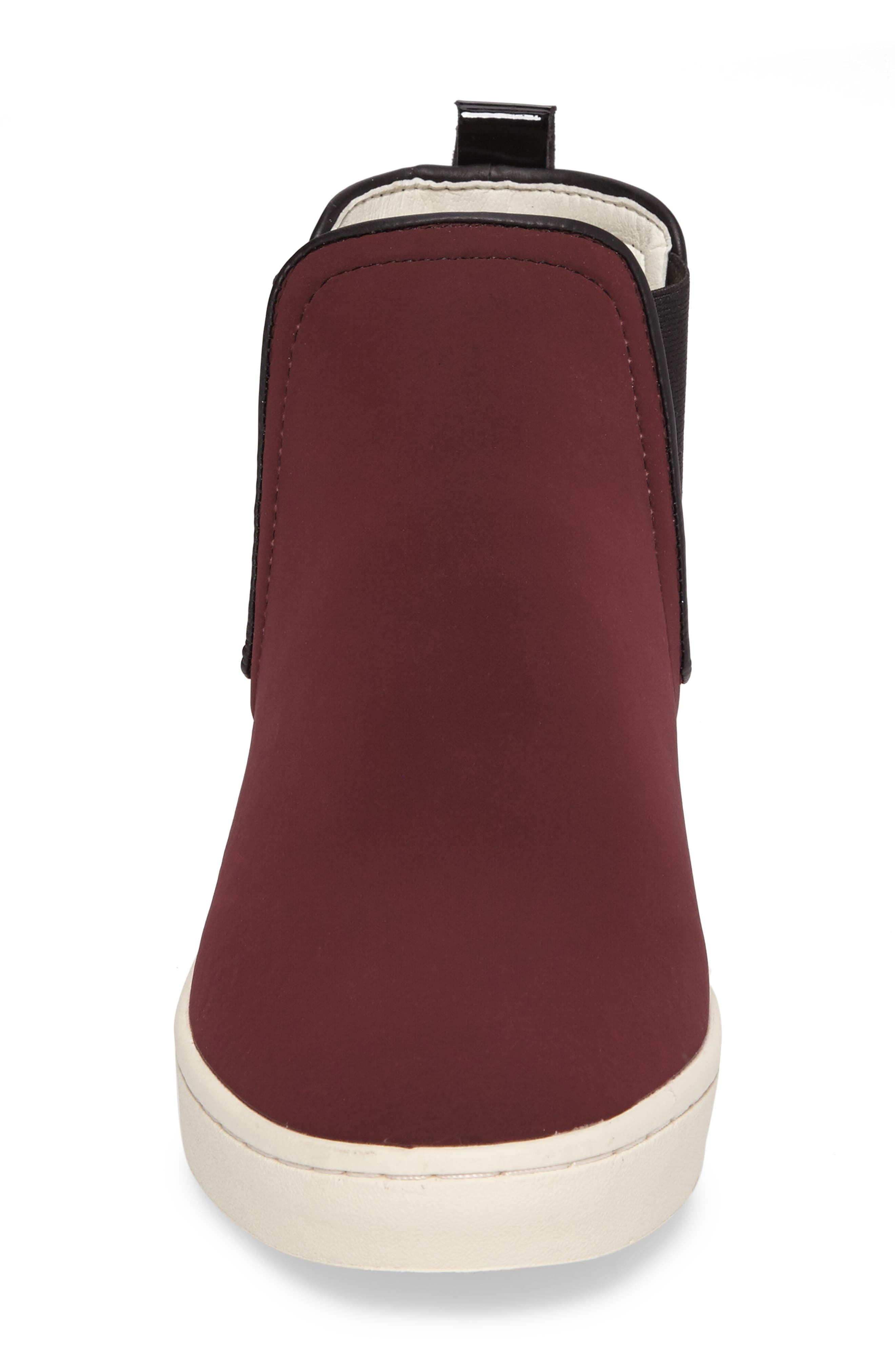 'Mabs' Slip-On Platform Sneaker,                             Alternate thumbnail 4, color,                             Bordeaux/ Black Leather