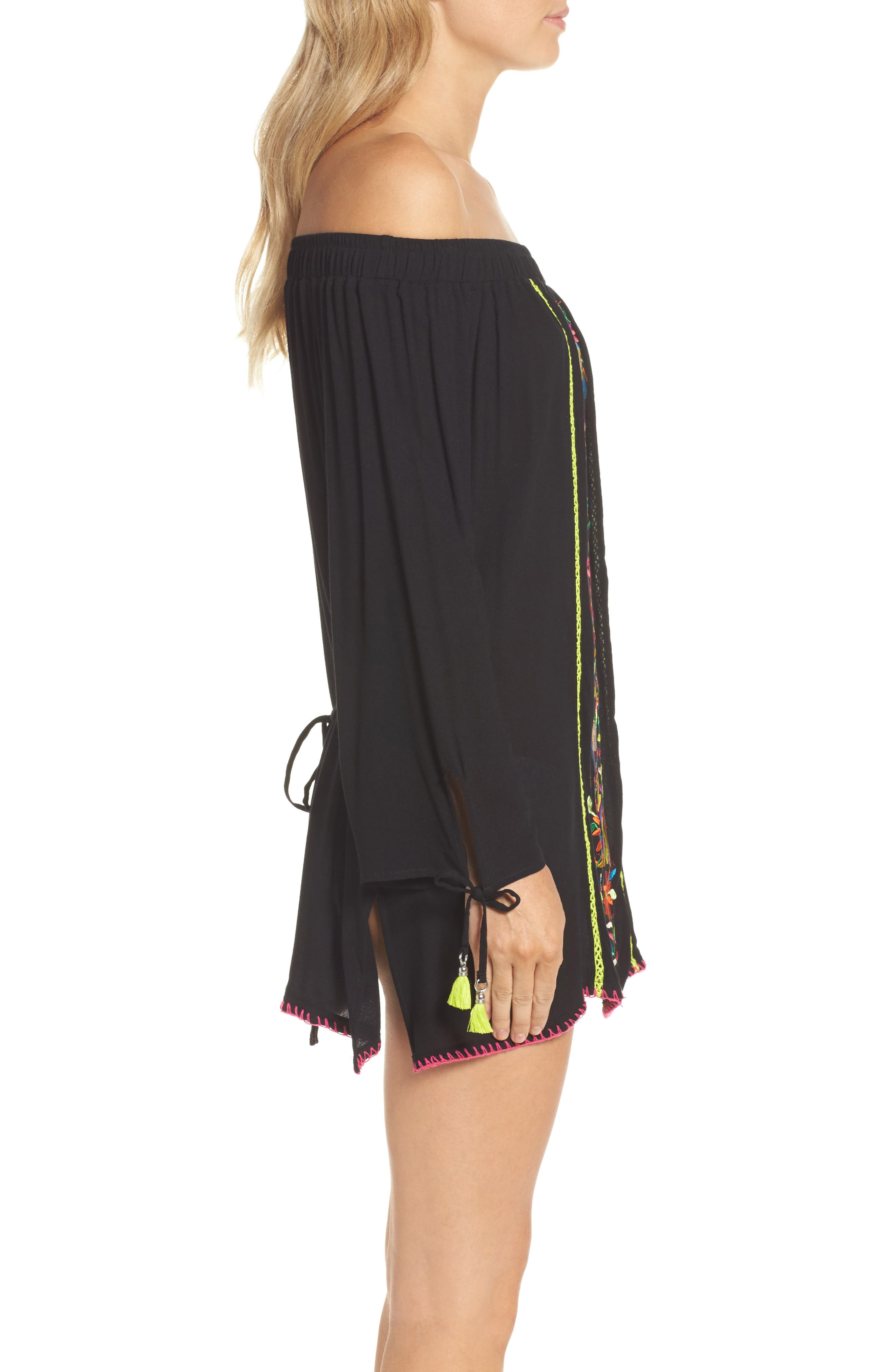 Isla Marietas Off the Shoulder Cover-Up,                             Alternate thumbnail 3, color,                             Black
