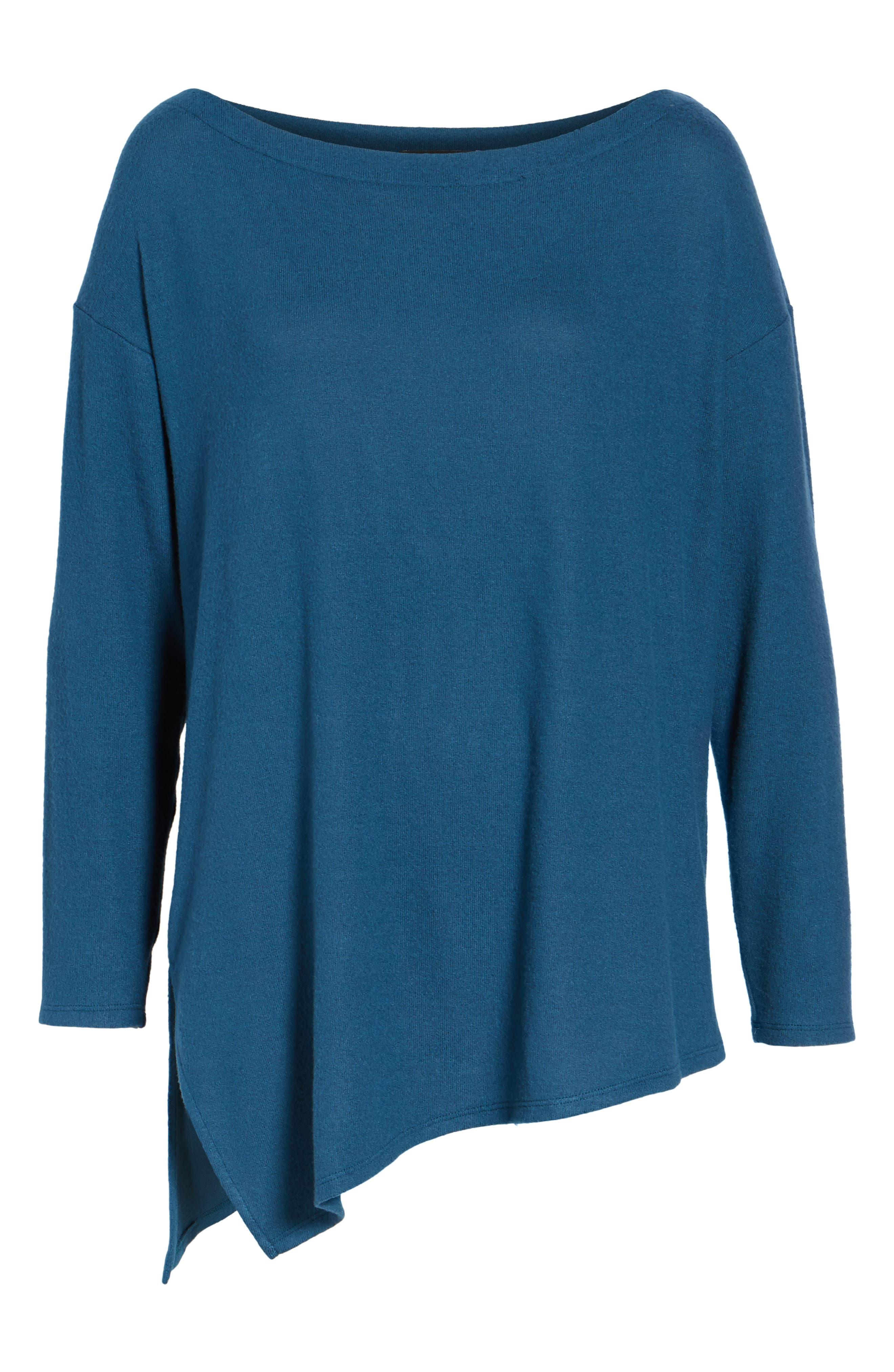 Asymmetrical Cozy Fleece Convertible Top,                             Alternate thumbnail 7, color,                             Blue Ceramic