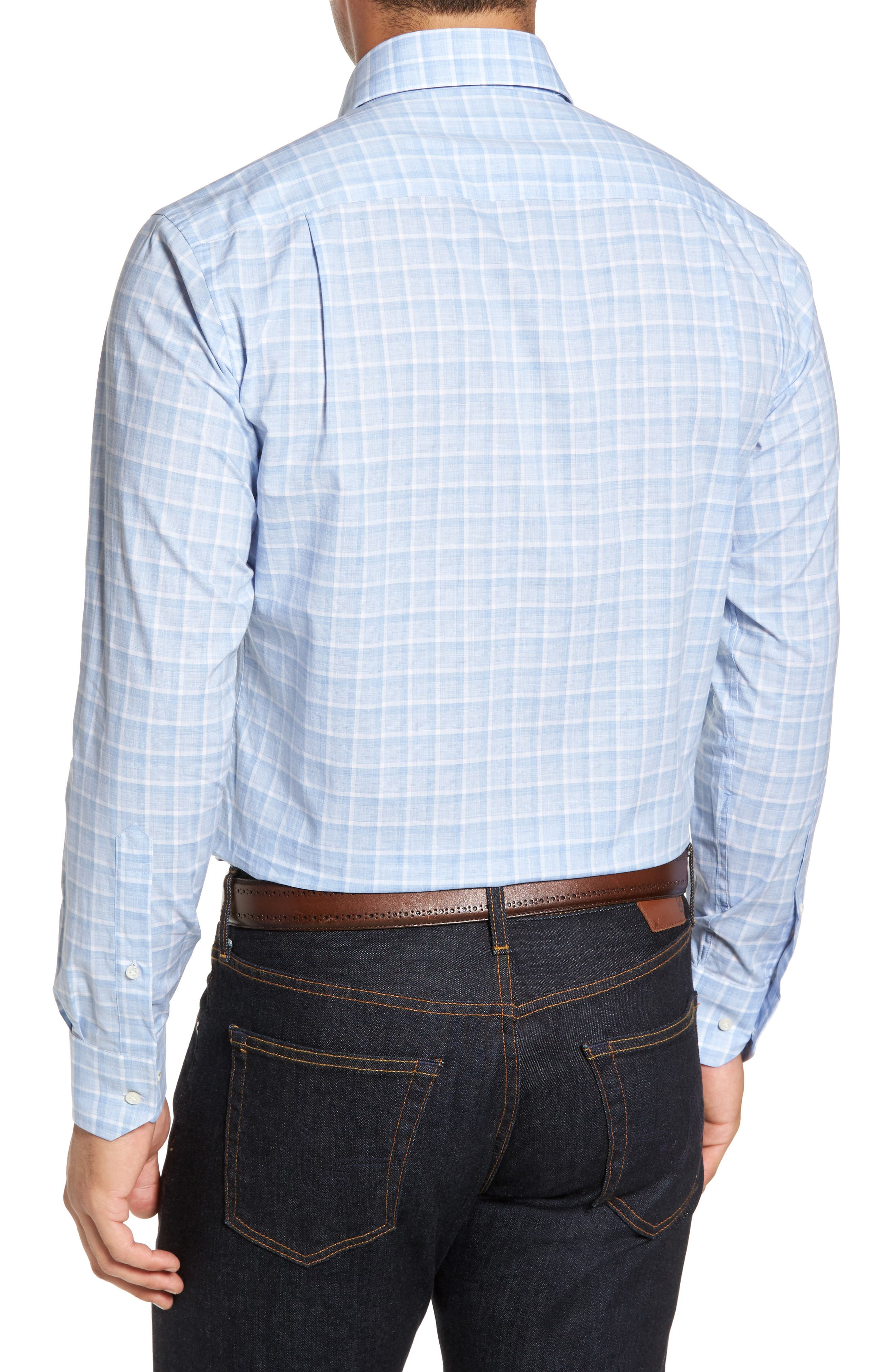 Starry Night Tailored Fit Mélange Check Sport Shirt,                             Alternate thumbnail 2, color,                             Blue Ceillo