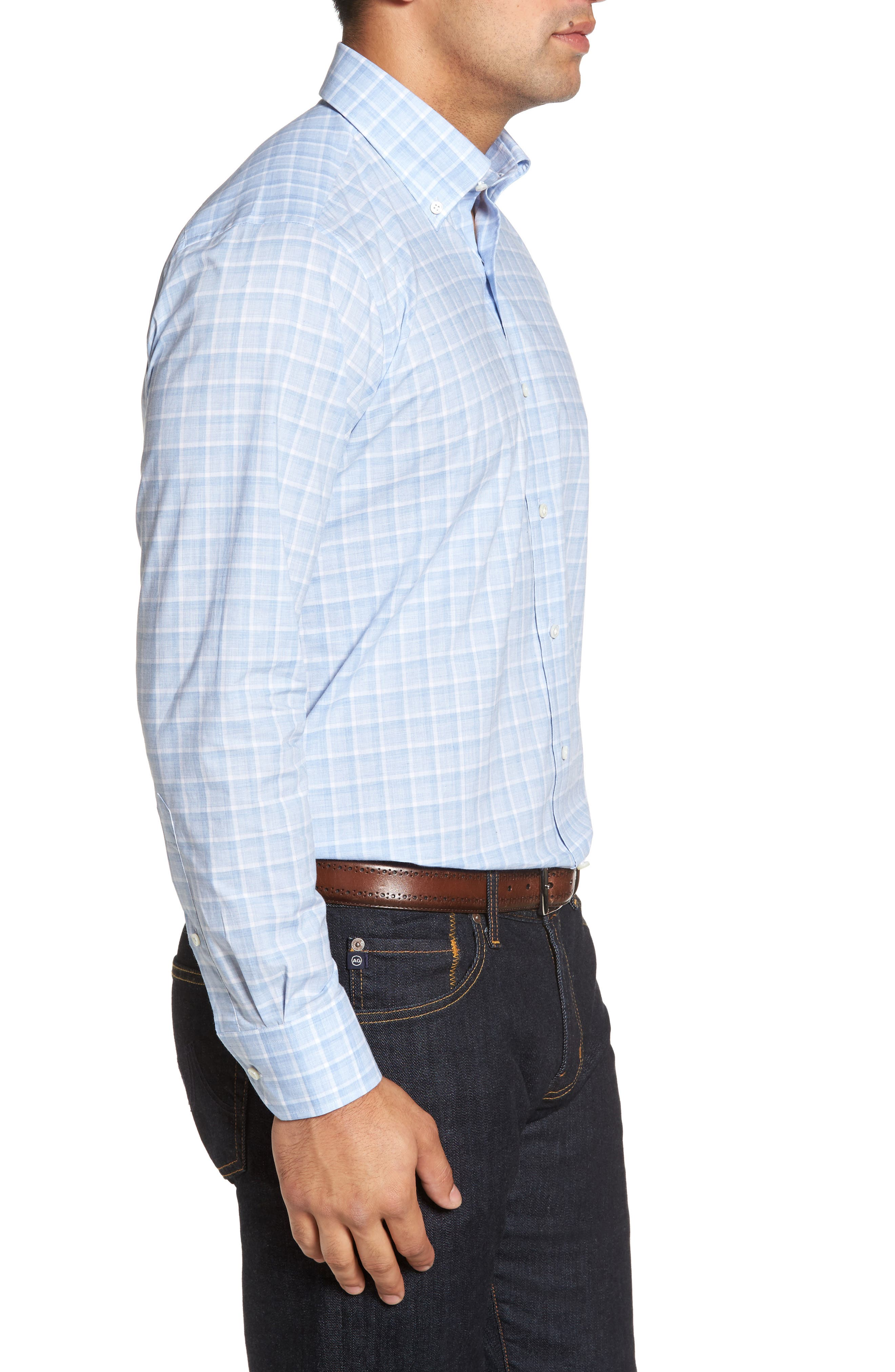 Starry Night Tailored Fit Mélange Check Sport Shirt,                             Alternate thumbnail 3, color,                             Blue Ceillo